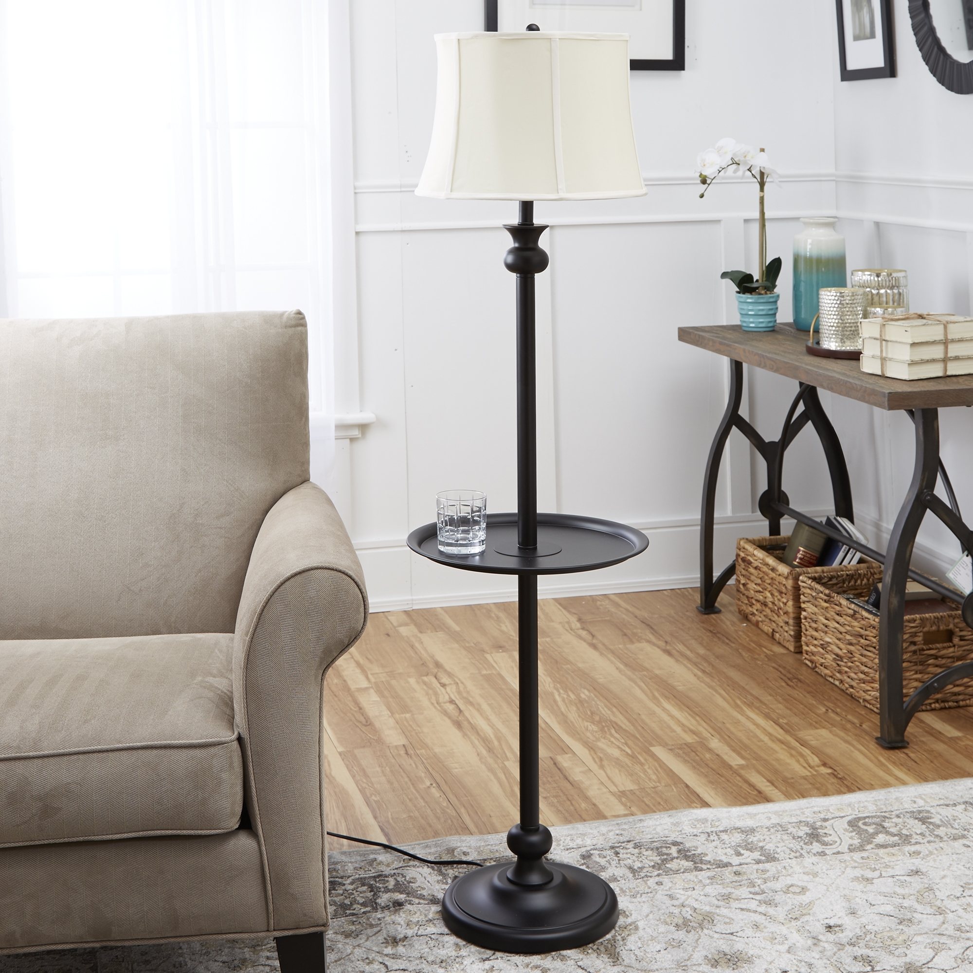 Inspiration about Mainstays Combo Floor Lamp, Brown – Walmart Intended For Black Living Room Table Lamps (#10 of 15)