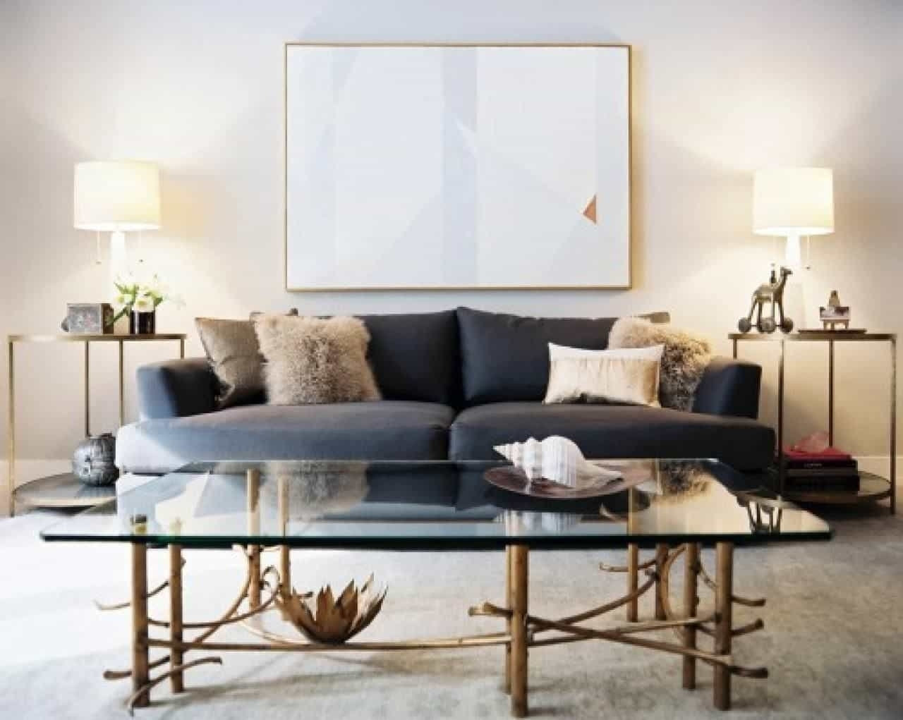 Inspiration about Modern Living Room With Grey Sofa And Side Tables With Table Lamps For Table Lamps For Modern Living Room (#15 of 15)