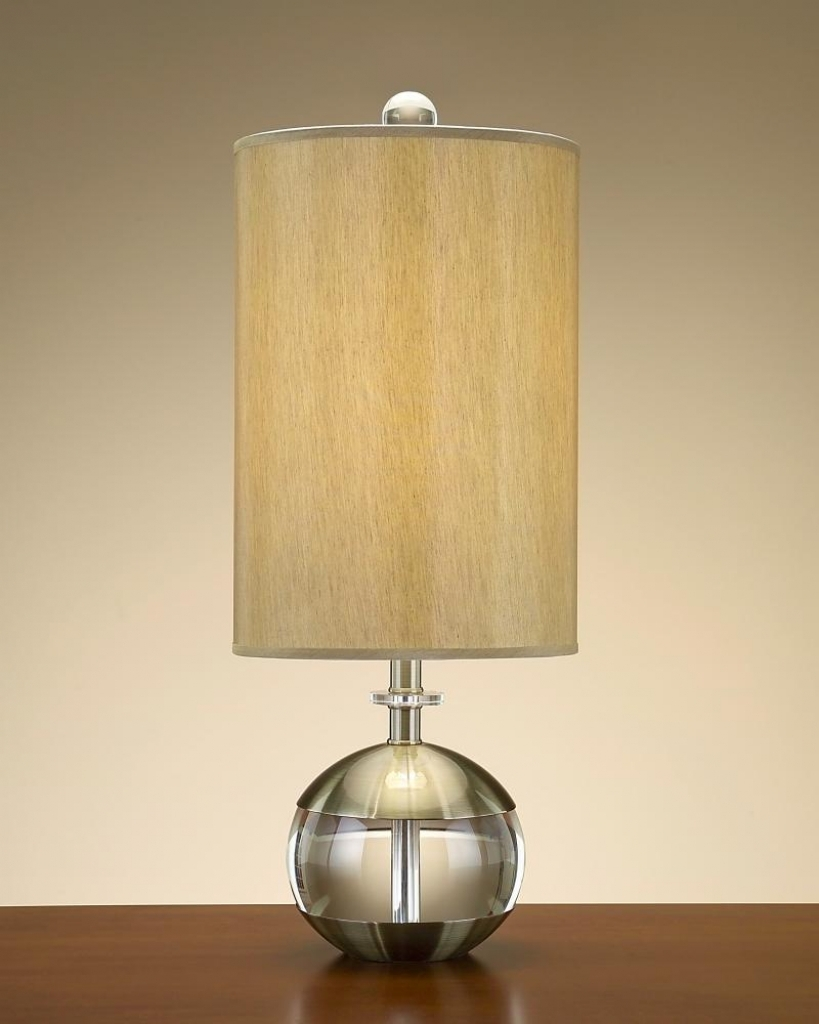 Round Table Lamp With Cylinder Lamp Shade In Oak Table Living Room Inside Living Room Table Lamp Shades (#11 of 15)
