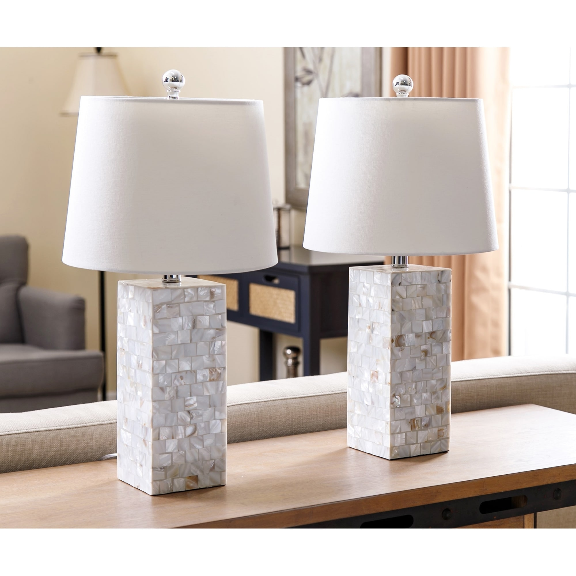 Shop Abbyson Mother Of Pearl Square Table Lamp (Set Of 2) – On Sale Regarding Set Of 2 Living Room Table Lamps (View 12 of 15)