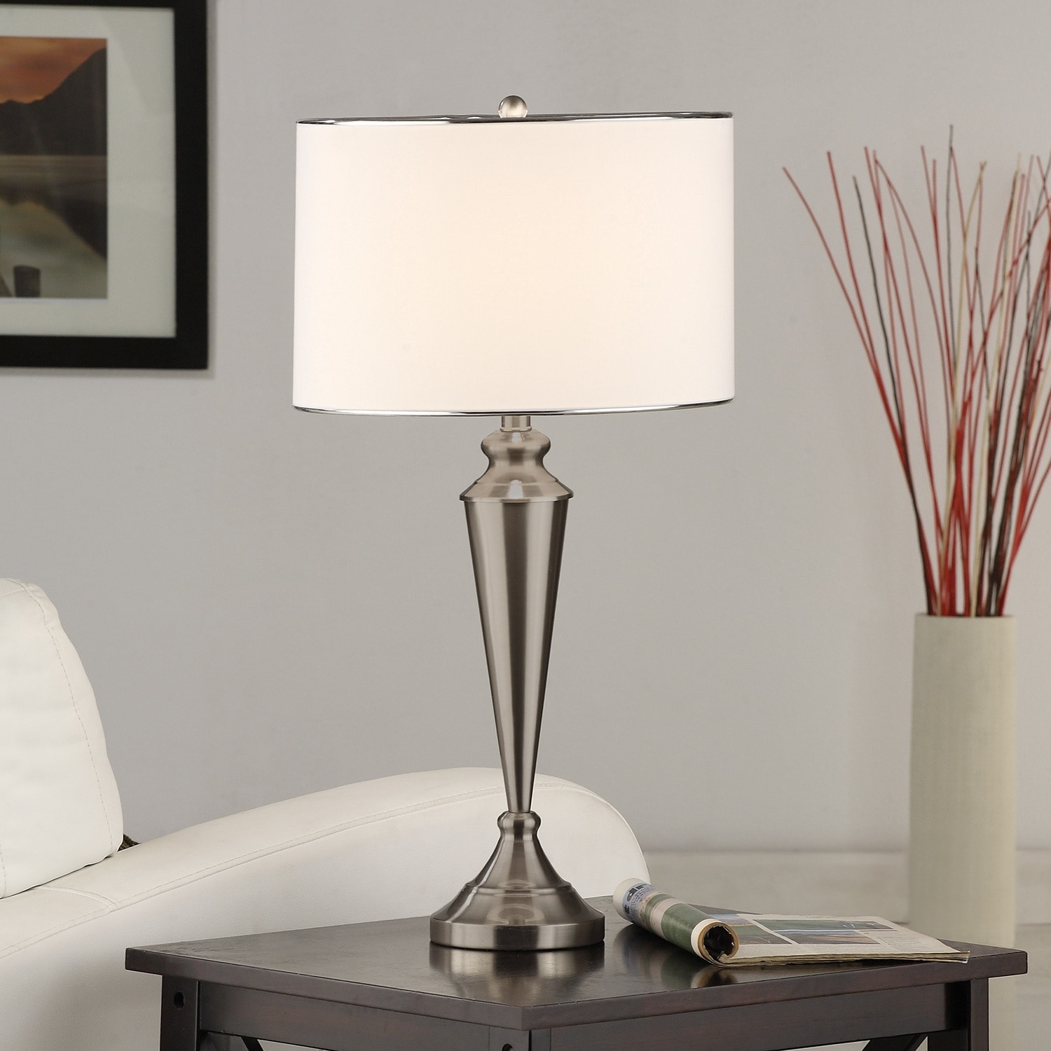 Shop Brushed Nickel Contemporary Table Lamp (Set Of 2) – Free Regarding Overstock Living Room Table Lamps (#11 of 15)