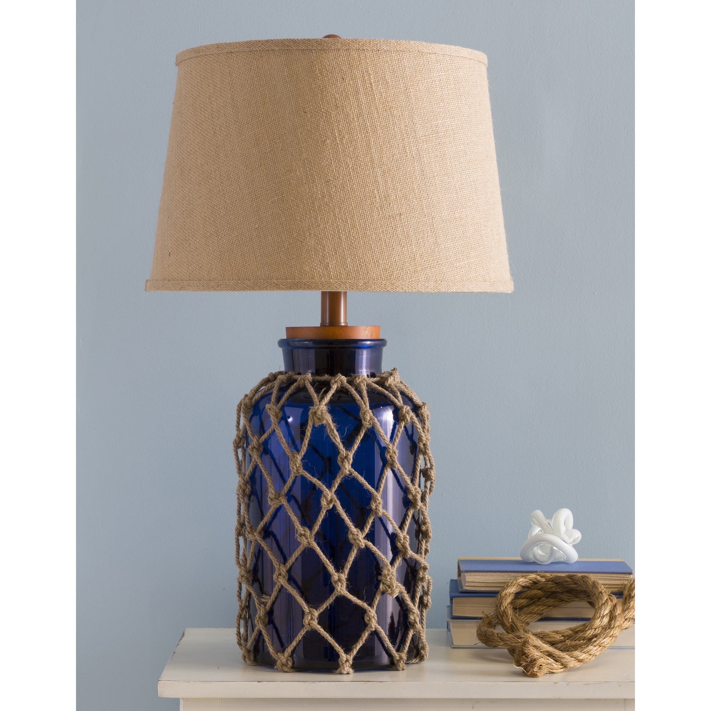 Shop Havenside Home Osprey Nautical Glass And Burlap Table Lamp Throughout Overstock Living Room Table Lamps (#13 of 15)