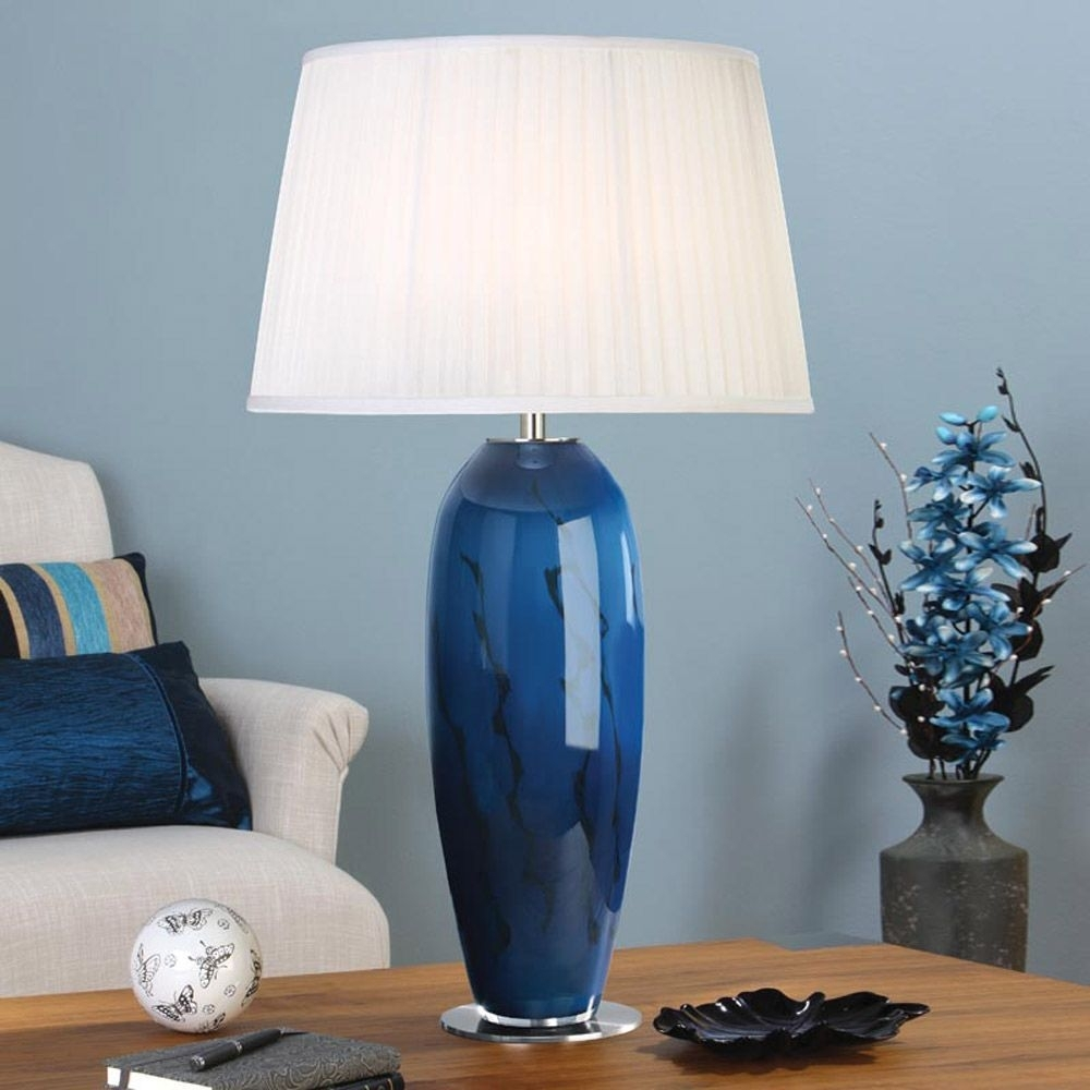 Table Lamp Charming Blue Glass Lamp: Blue Table Lamps, Blue Table For Teal Living Room Table Lamps (#13 of 15)
