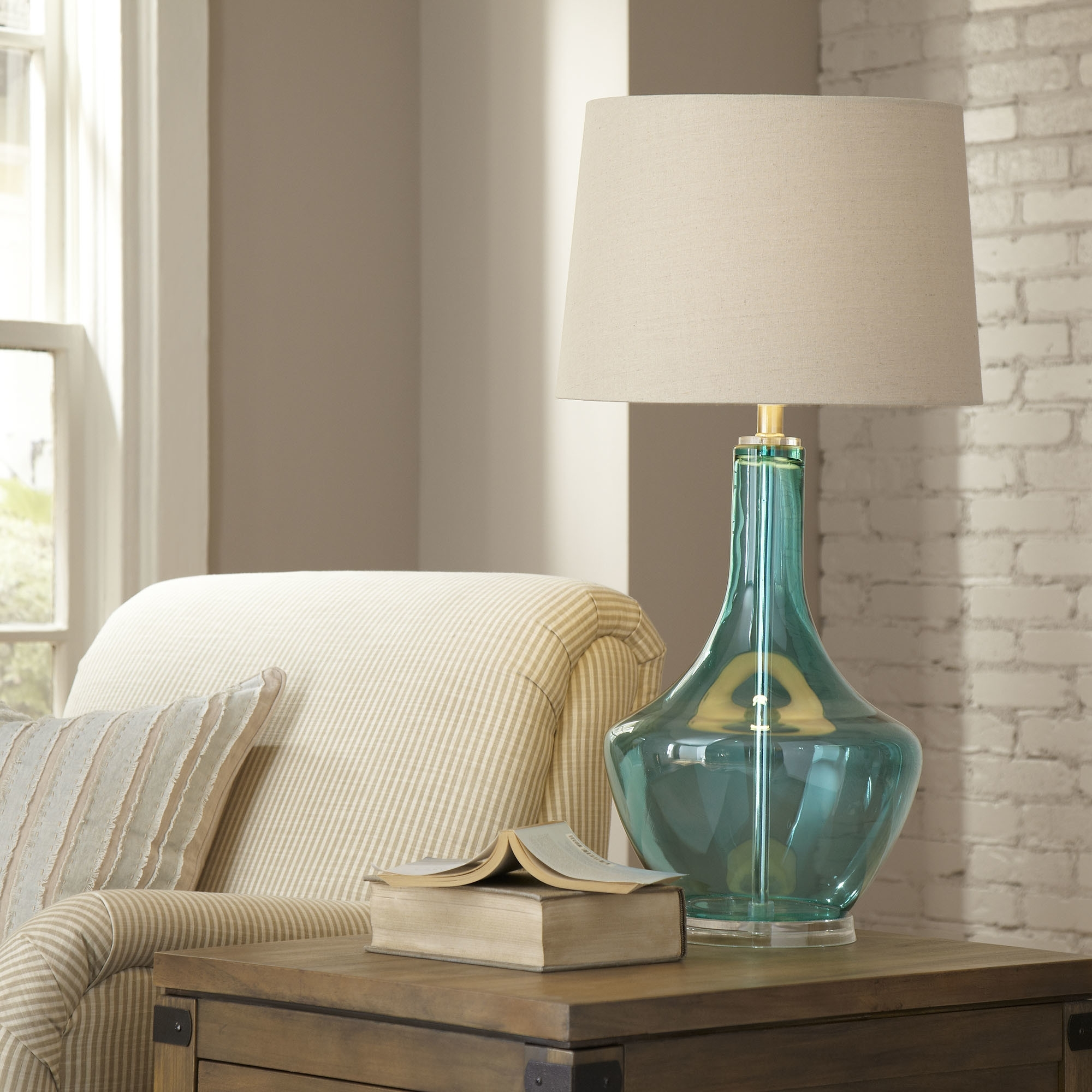 Inspiration about Top 53 Great Blue Table Lamp Touch Bedside Lamps Silver Glass Shades Intended For Coastal Living Room Table Lamps (#6 of 15)
