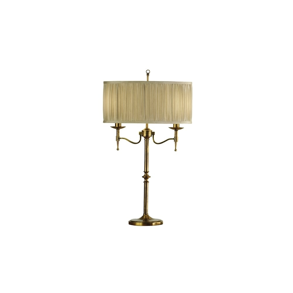Traditional Antique Brass Light Table Lamp With Beige Shade Lamps Pertaining To Table Lamps For Living Room At Ebay (#14 of 15)