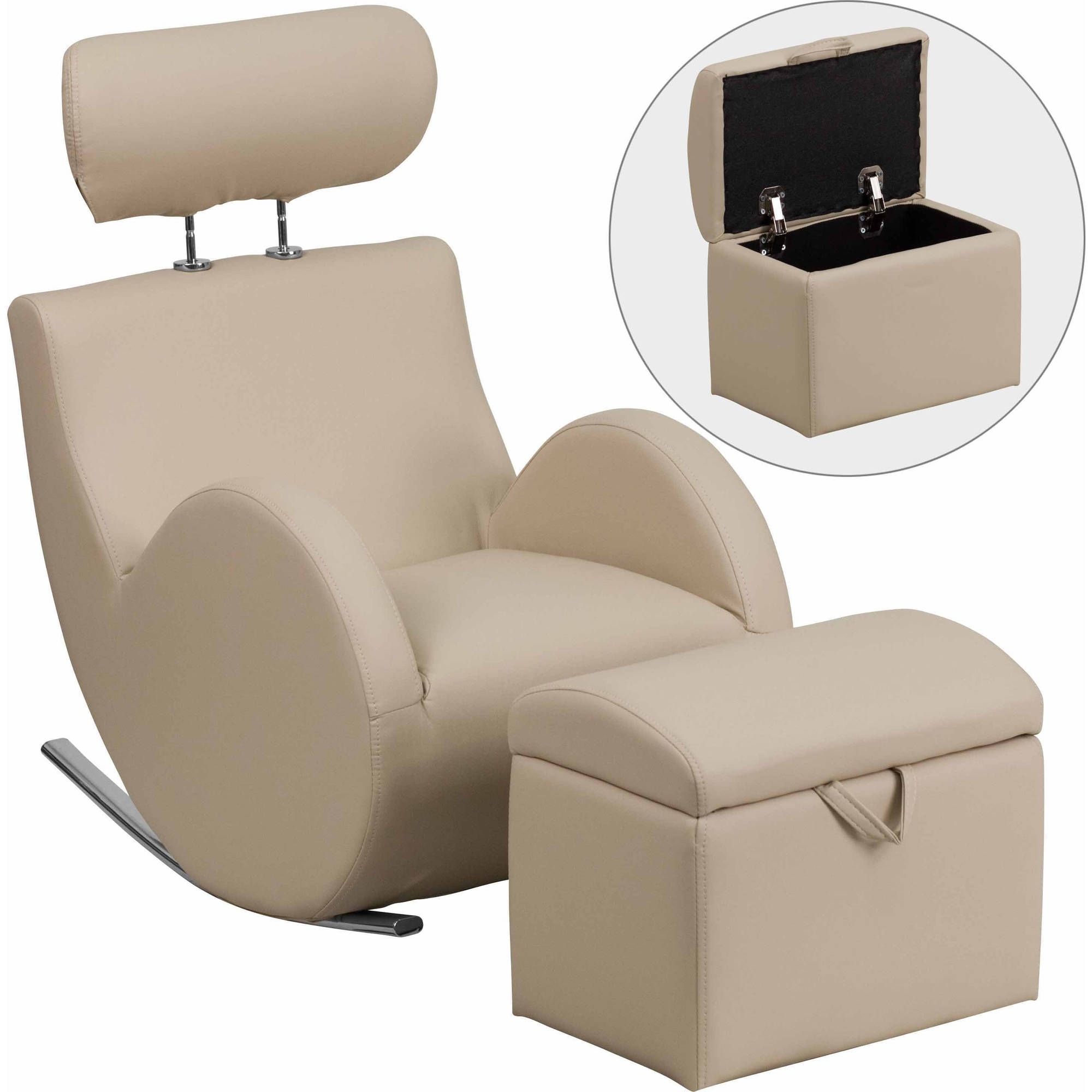 0Flash Furniture Hercules Series Beige Vinyl Rocking Chair W/storage Intended For Rocking Chairs With Ottoman (#1 of 15)