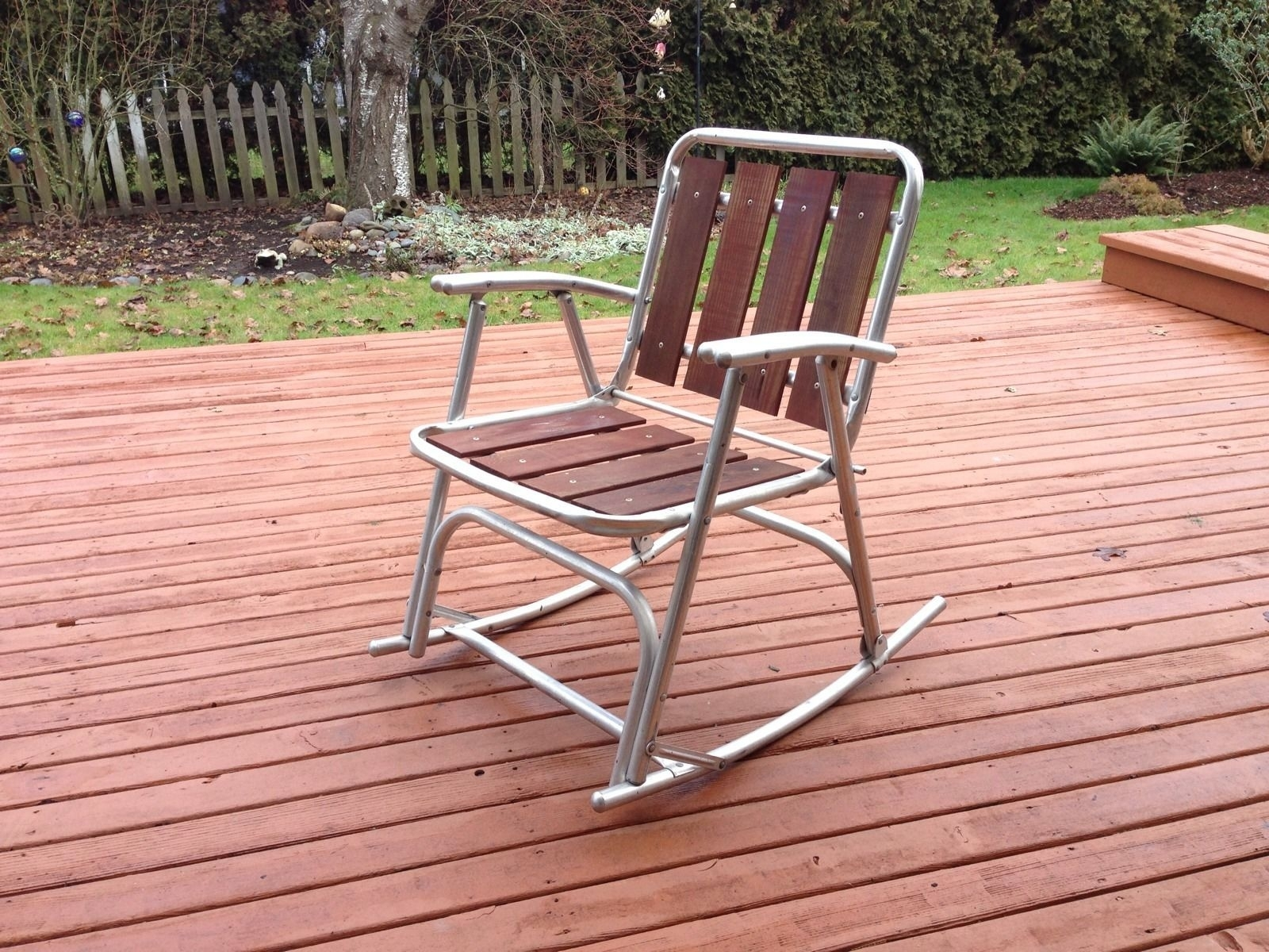 Inspiration about 1 Vtg Redwood Aluminum Outdoor Patio Porch Lawn Rocking Chairs With Aluminum Patio Rocking Chairs (#12 of 15)