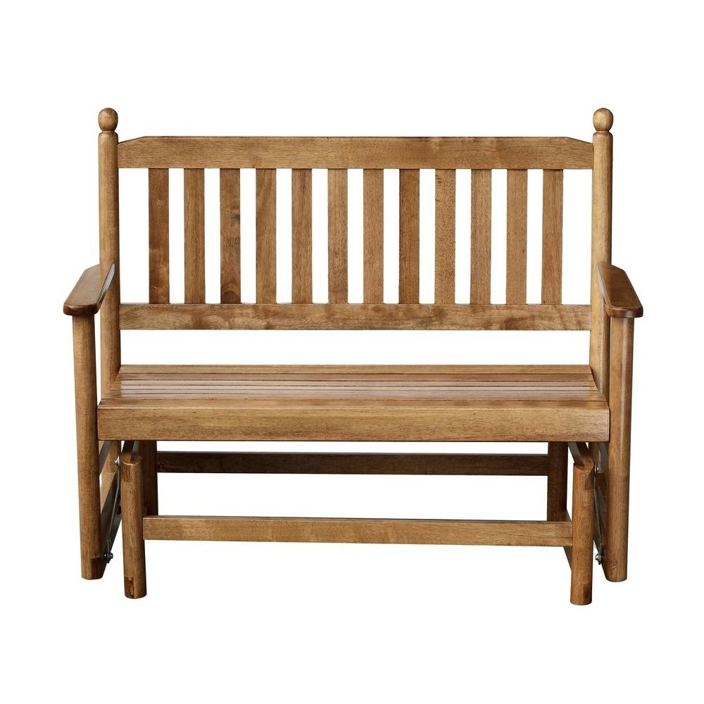 2 Person Maple Wood Outdoor Patio Glider 204Gsm Rta – The Home Depot With Regard To Patio Rocking Chairs And Gliders (#1 of 15)