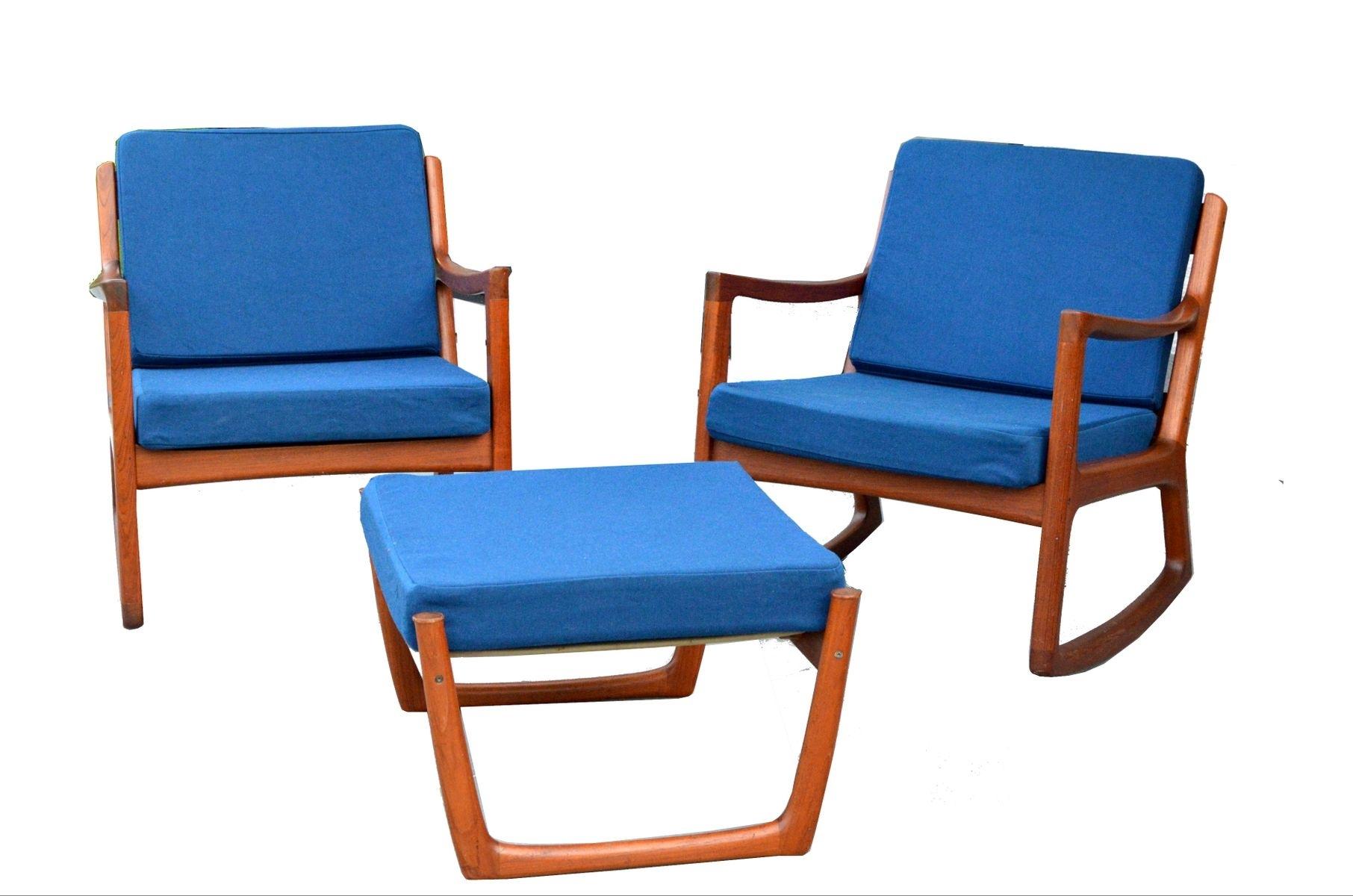2 Senator Rocking Chairs & 1 Footstoolole Wanscher For France Inside Rocking Chairs With Footstool (#1 of 15)