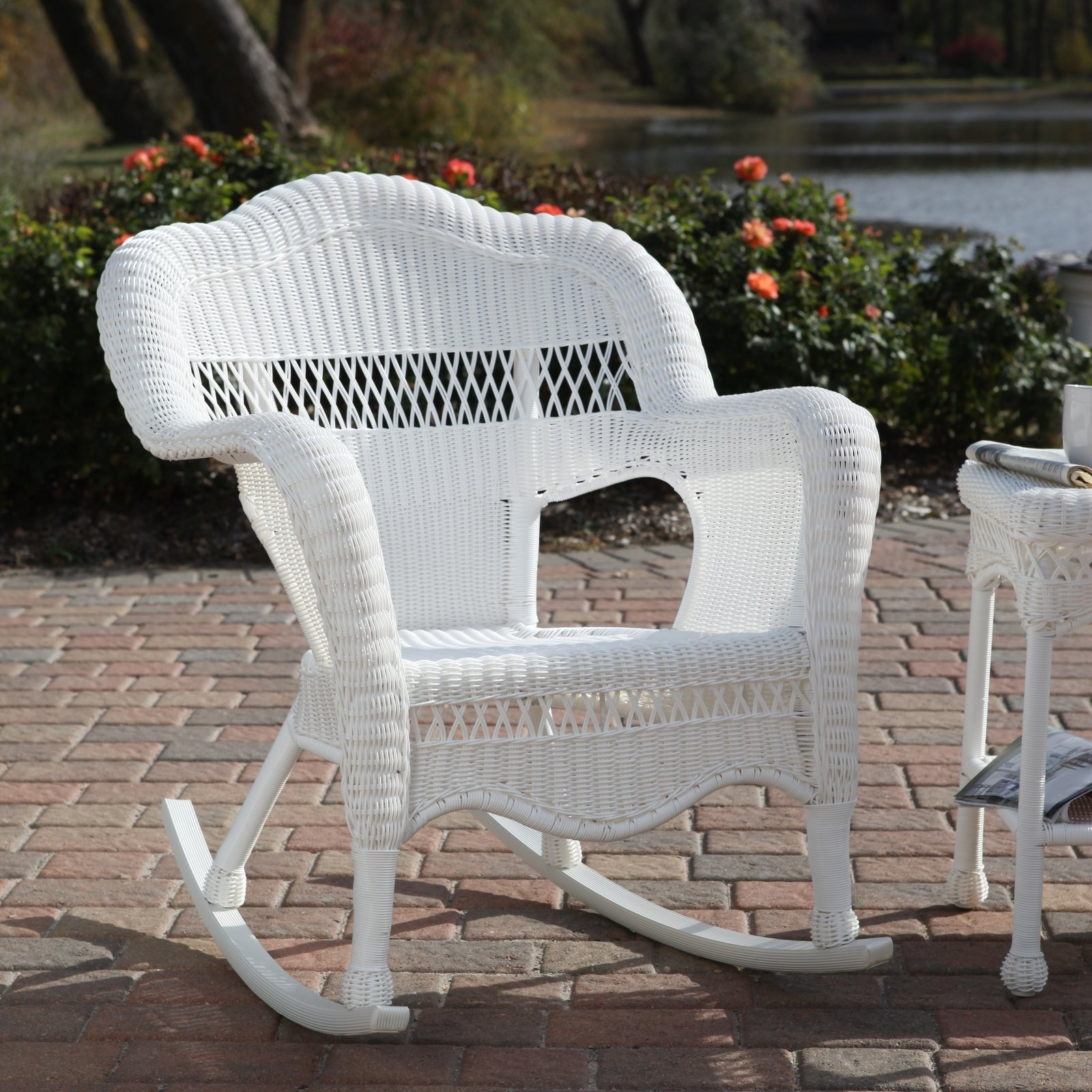 Inspiration about 55 White Wicker Rocking Chair, 3 Pc Outdoor Patio Coastal White In White Wicker Rocking Chair For Nursery (#9 of 15)