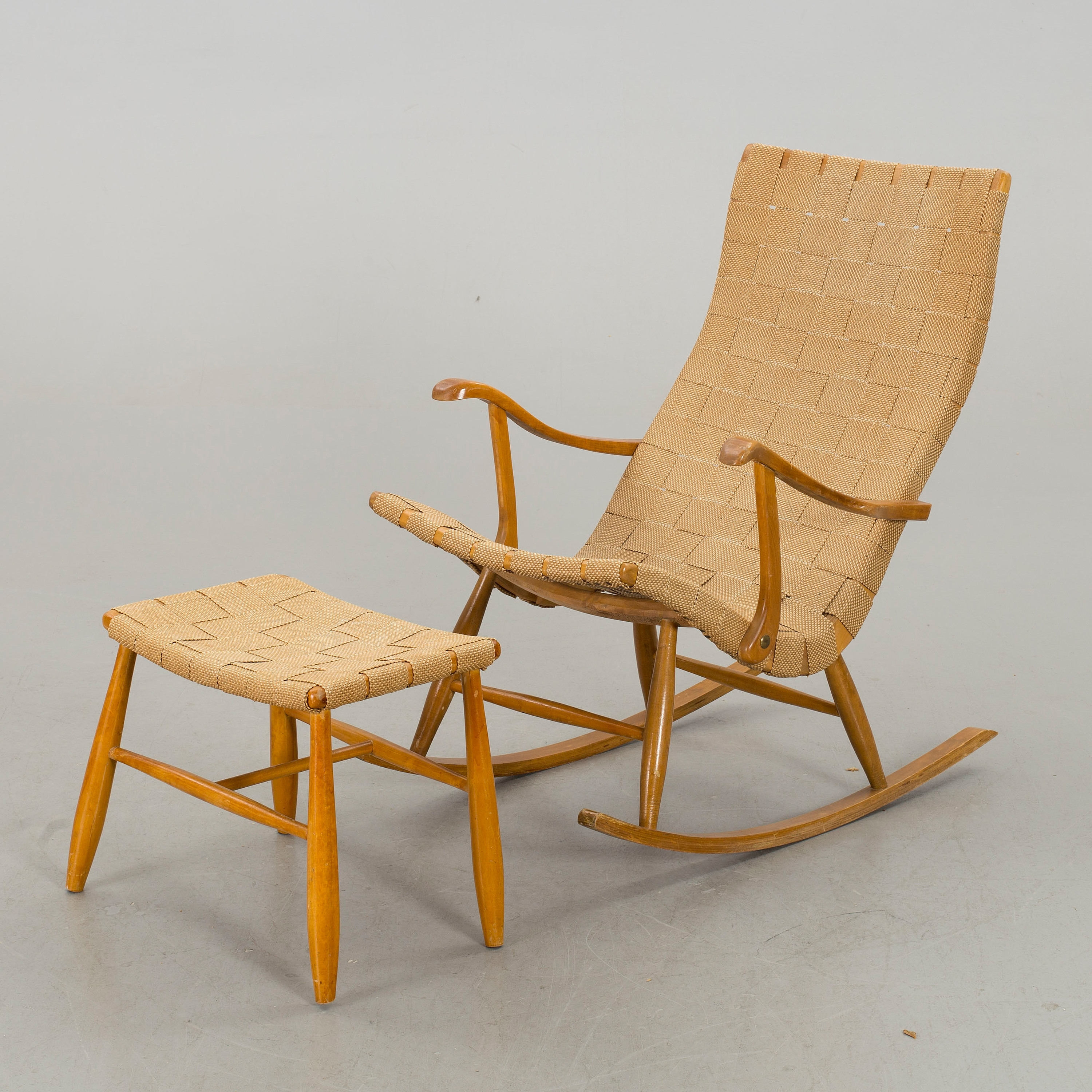 A Rocking Chair With Footstool, 1940/50S, – Bukowskis Intended For Rocking Chairs With Footstool (#2 of 15)