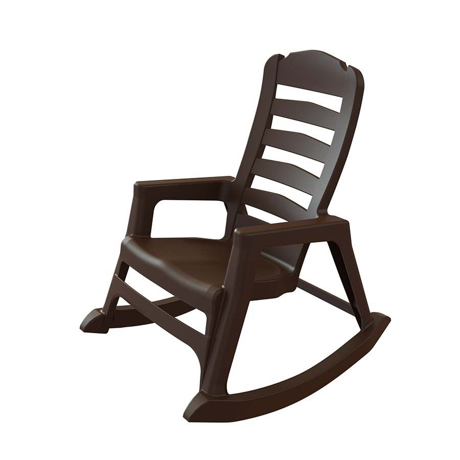 Adams Mfg Corp Earth Brown Resin Stackable Patio Rocking Chair Throughout Stackable Patio Rocking Chairs (View 1 of 15)