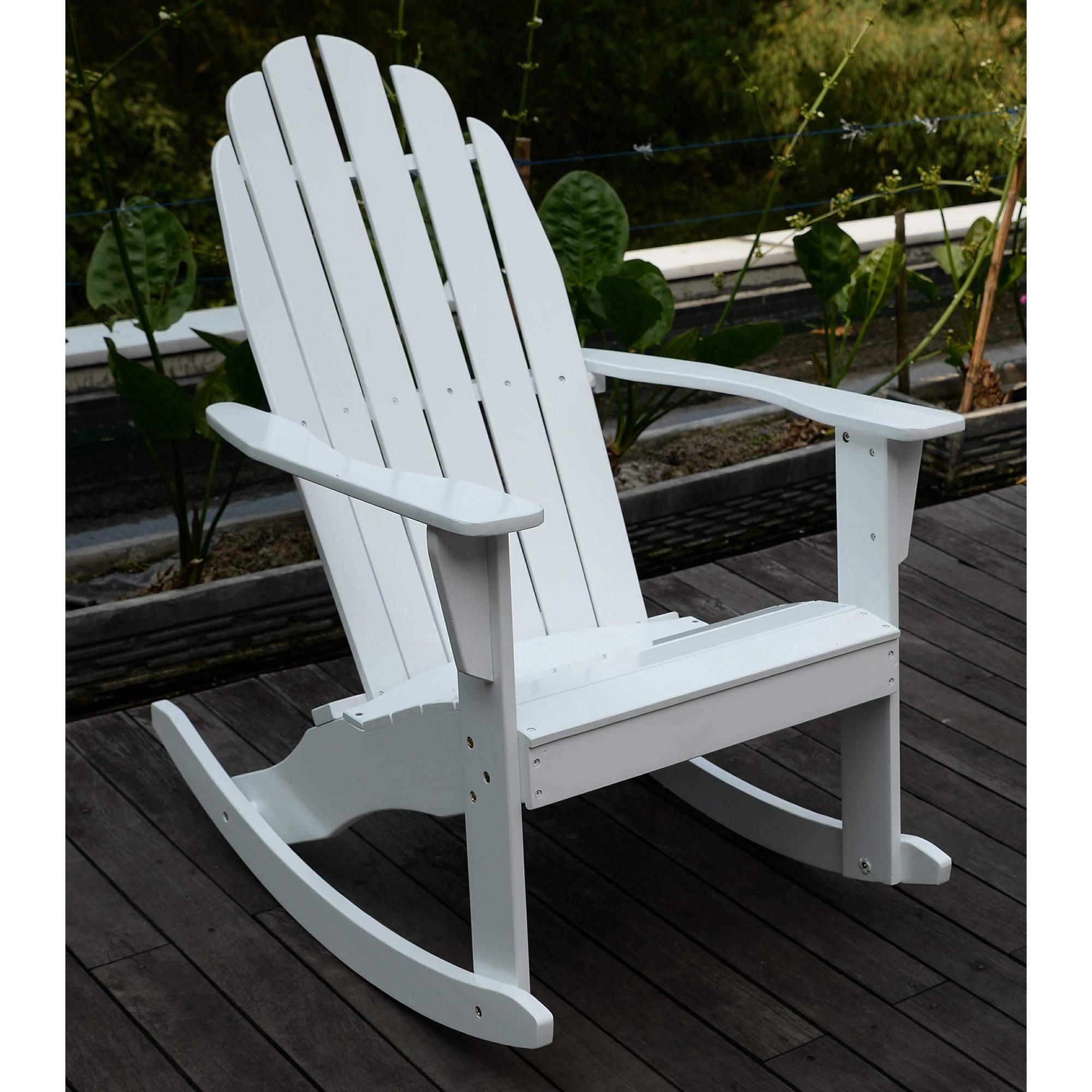 Adirondack Rocking Chair, White – Walmart Regarding Rocking Chairs At Walmart (#1 of 15)