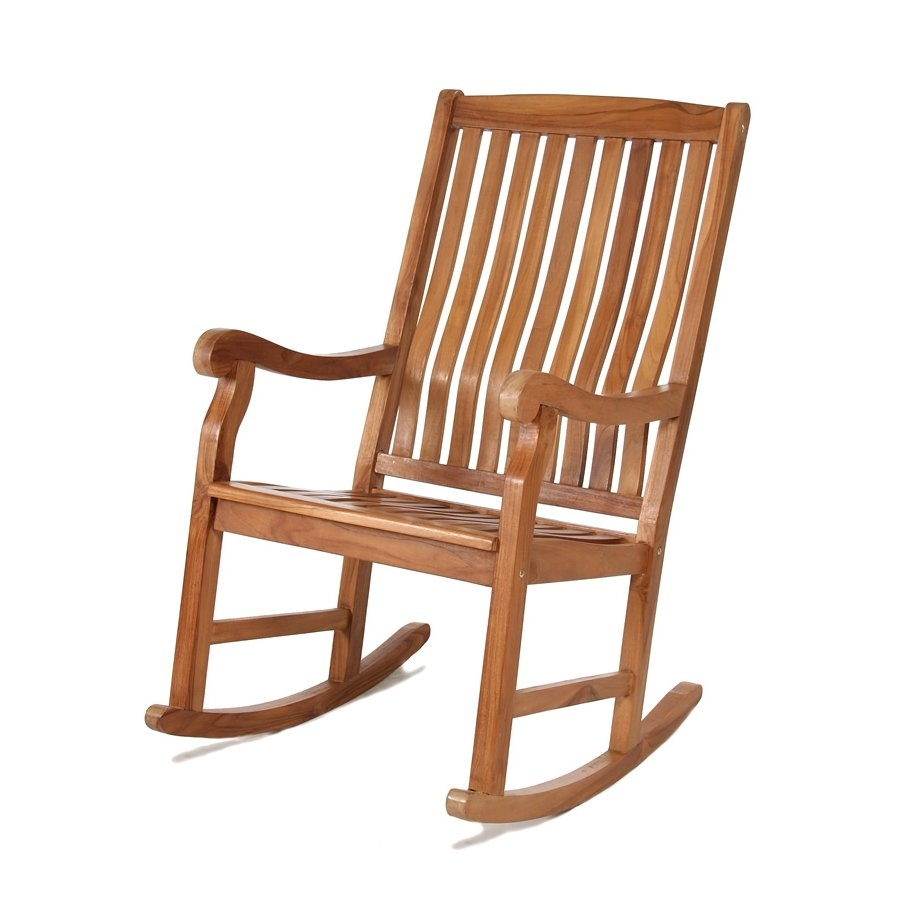 All Things Cedar Tr22 Teak Outdoor Rocking Chair | Lowe's Canada Inside Teak Patio Rocking Chairs (#1 of 15)