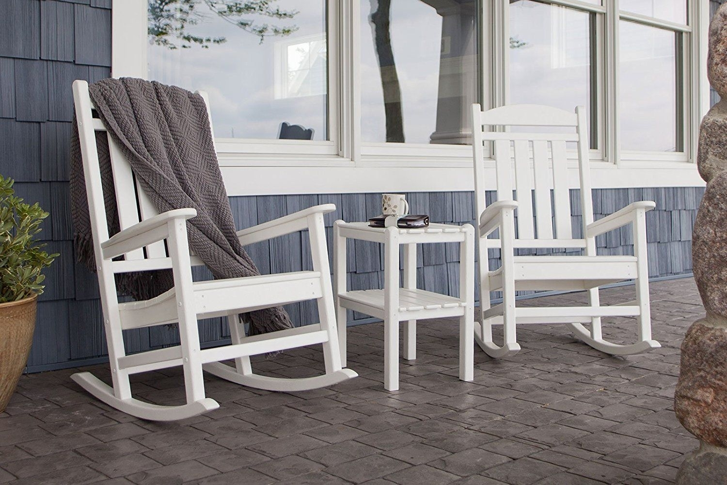 Amazon : Polywood R100Wh Presidential Rocker, White : Rocking Intended For Outdoor Rocking Chairs With Table (View 1 of 15)