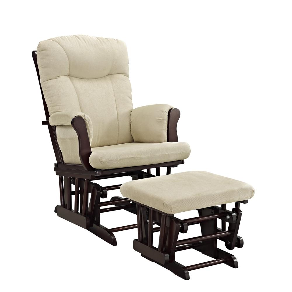 Angel Line Monterey Glider And Ottoman, Espresso W/ Beige Cushion Regarding Walmart Rocking Chairs (View 5 of 15)