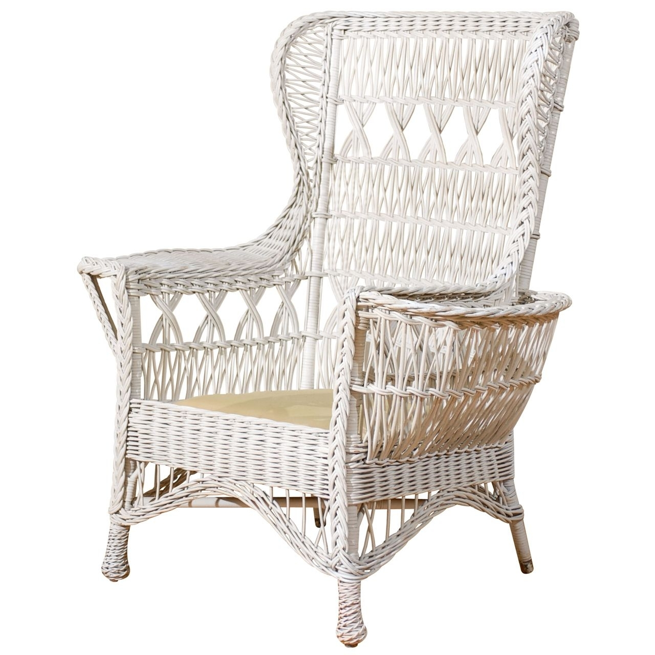 Antique American Wicker Wing Chair With Magazine Pocket | Wicker Throughout Wicker Rocking Chair With Magazine Holder (#1 of 15)