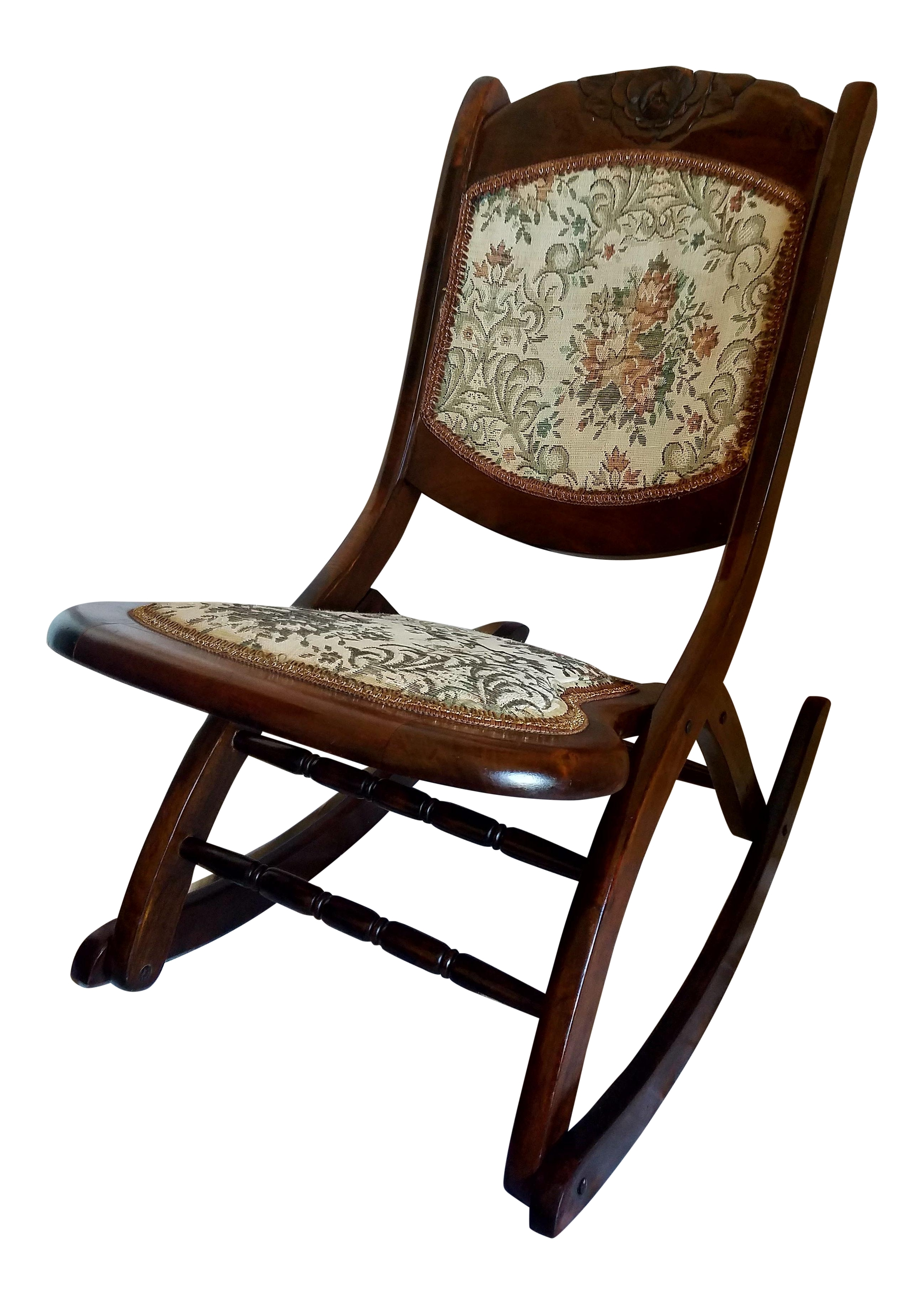Antique Folding Rocking Chair Chairish Chairs With Lumbar Support Inside Rocking Chairs With Lumbar Support (View 10 of 15)