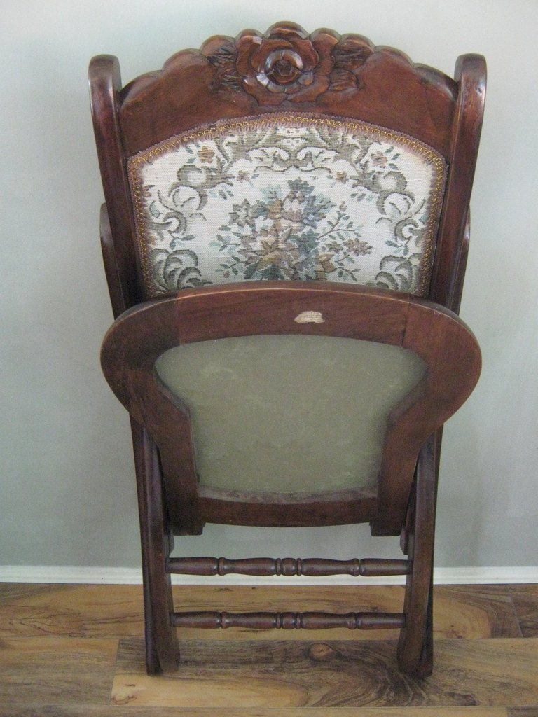Antique Folding Rocking Chair Furniture Victorian Upholstered Oval For Victorian Rocking Chairs (View 11 of 15)