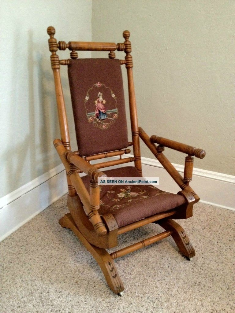 Antique Platform Rocking Chairs | Antique Furniture Pertaining To Antique Wicker Rocking Chairs With Springs (#2 of 15)