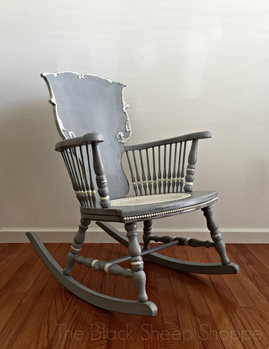 Antique Rocking Chair: Seat Replacement And Painted Finish Throughout Antique Rocking Chairs (#7 of 15)