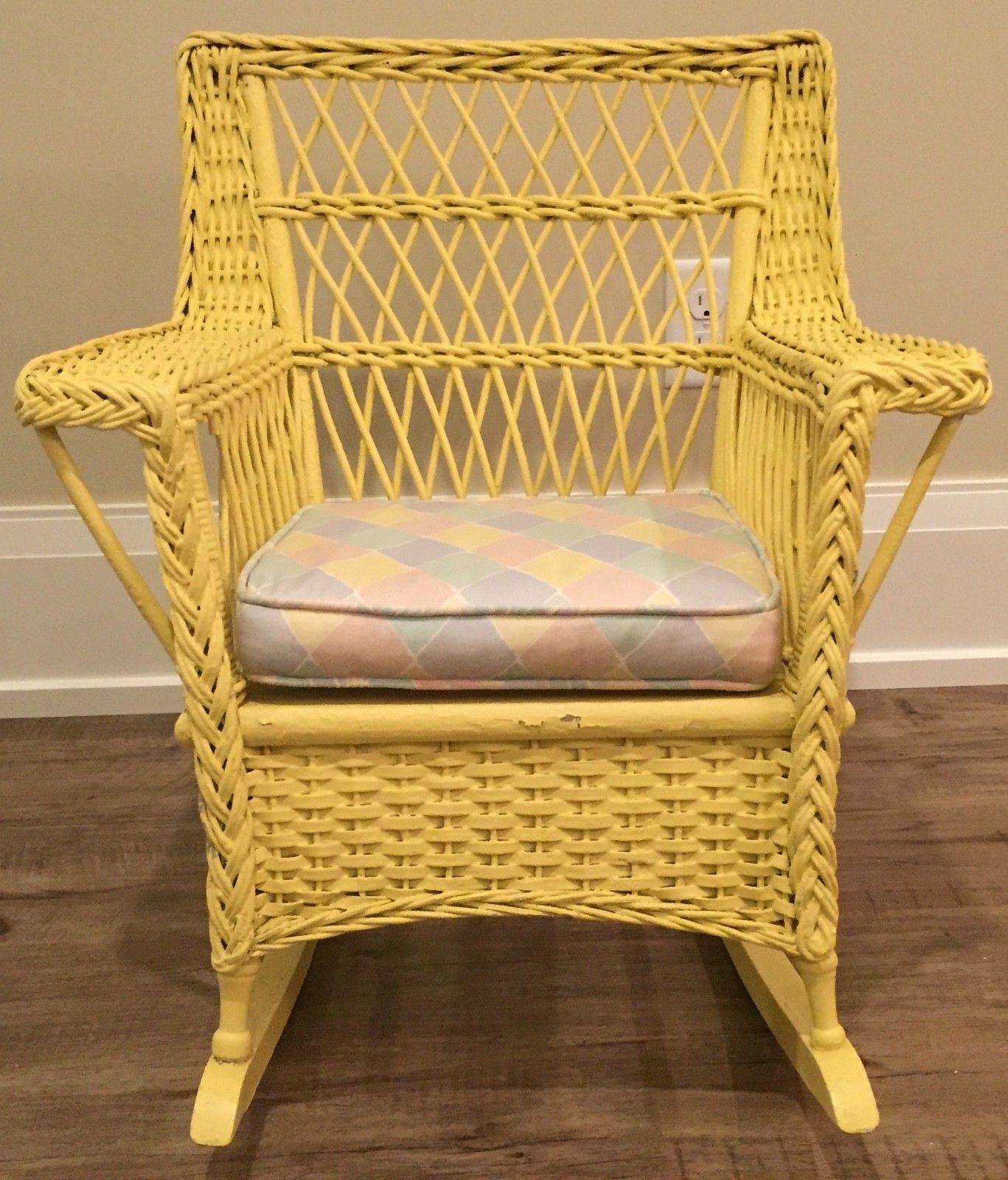 Antique Wicker Child's Rocker Rocking Chair 1930's Vintage Yellow Oh Within Antique Wicker Rocking Chairs (#1 of 15)