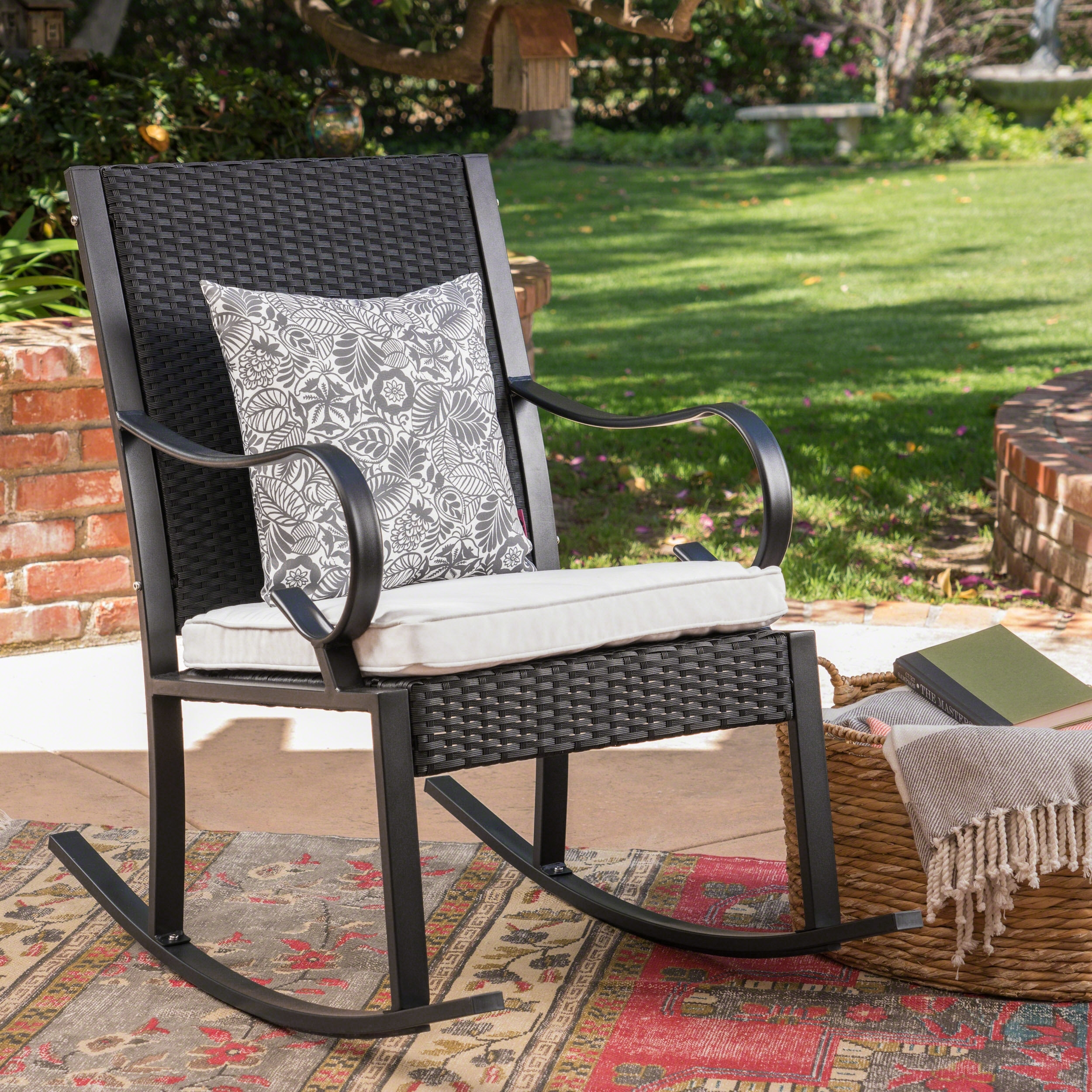 August Grove Kampmann Outdoor Wicker Rocking Chair With Cushions With Regard To Wicker Rocking Chairs With Cushions (#1 of 15)