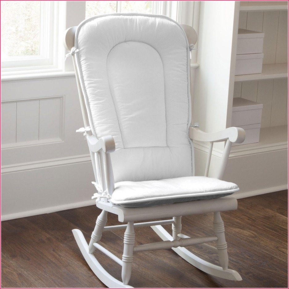 Baby Nursery Nice Looking White Painted Wooden Glider Rocking Chair With Rocking Chairs For Nursery (#2 of 15)