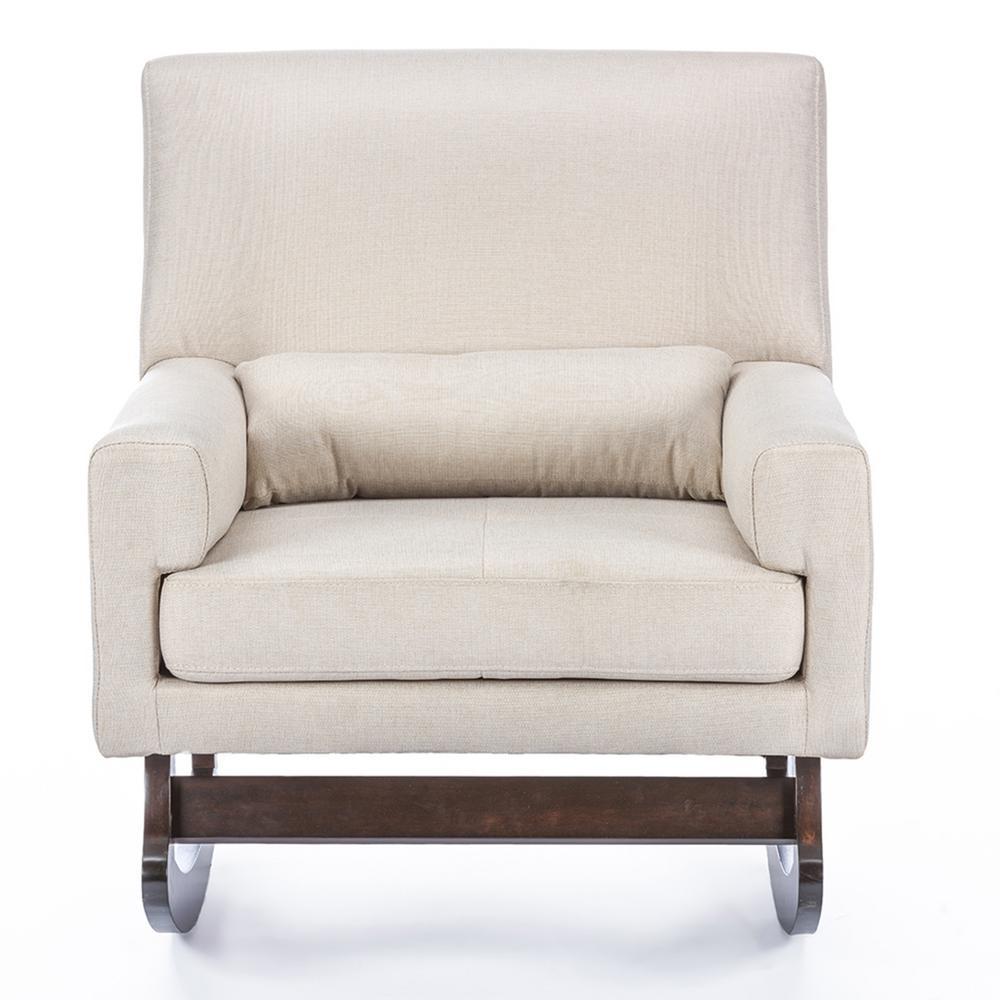 Baxton Studio Blas Light Beige Fabric Rocking Arm Chair 28862 6005 Within Zen Rocking Chairs (#1 of 15)