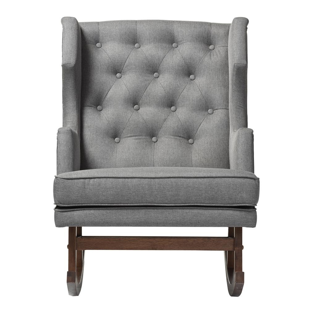Baxton Studio Iona Mid Century Gray Fabric Upholstered Rocking Chair Within Upholstered Rocking Chairs (#3 of 15)