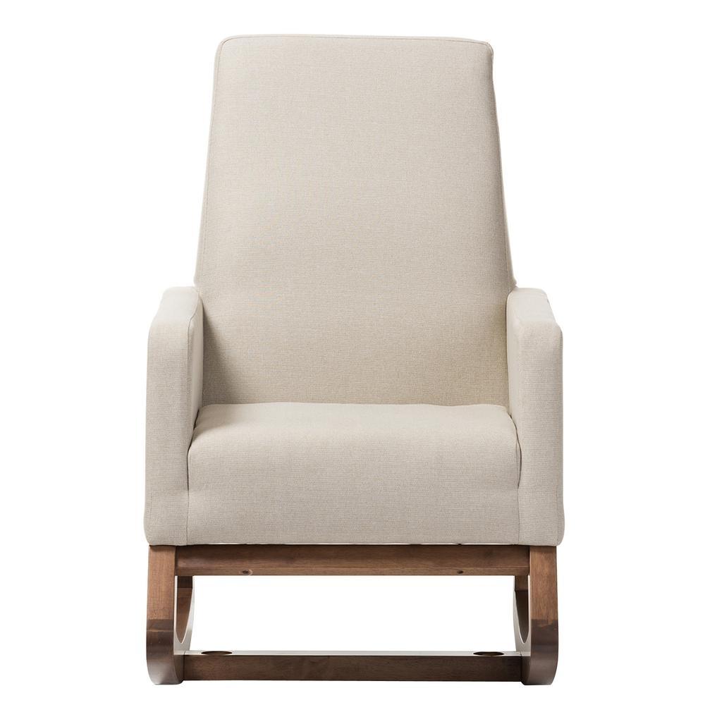 Baxton Studio Yashiya Mid Century Beige Fabric Upholstered Rocking Within Upholstered Rocking Chairs (#4 of 15)