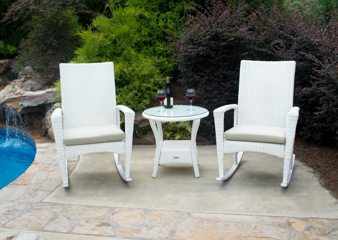Bayview Porch Rocking Chair Set – Georgia Patio Furniture Within Wicker Rocking Chairs Sets (#1 of 15)
