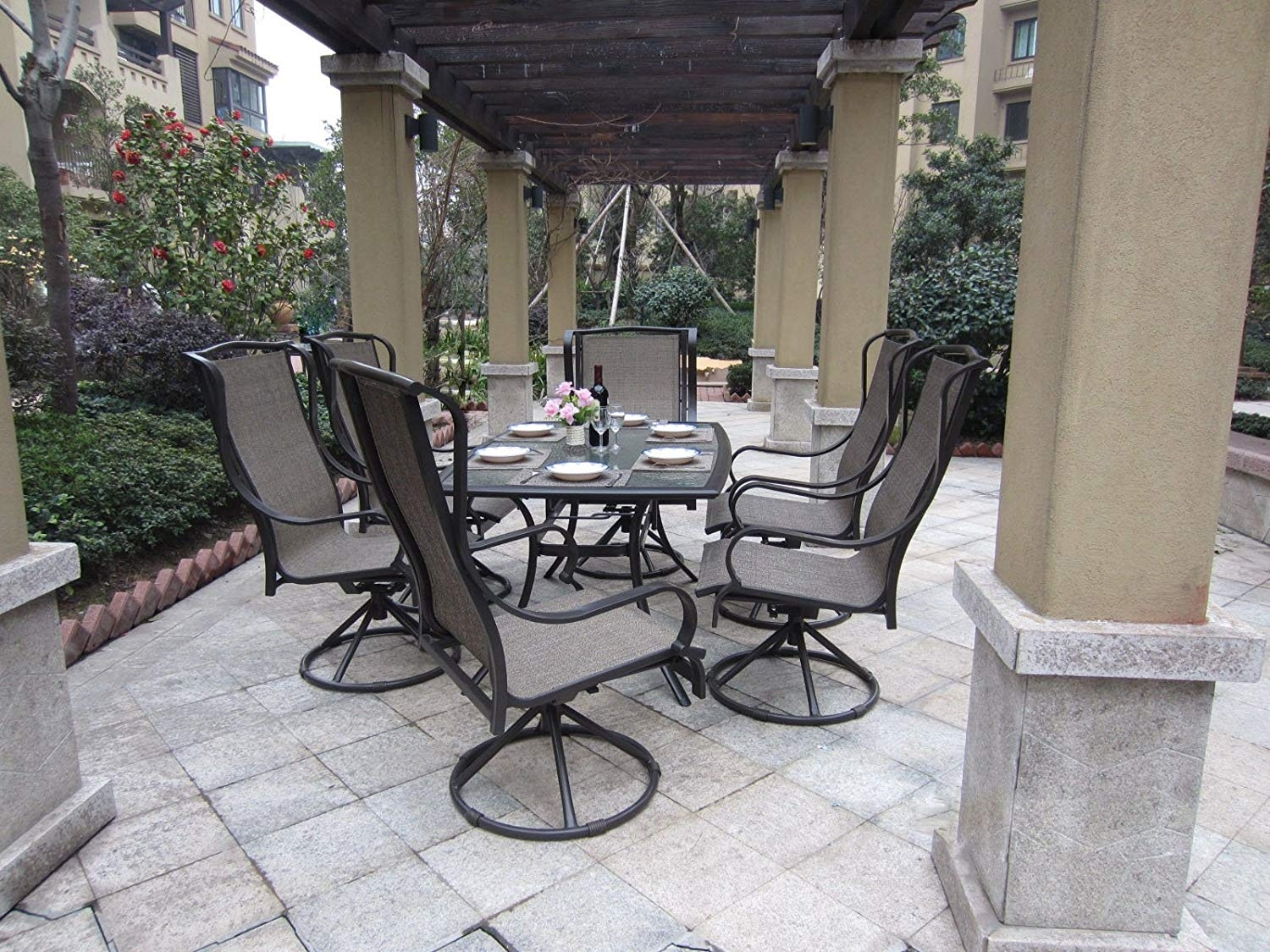 Beautiful Patio Set With Swivel Chairs 11 Hanover Dining Sets Pertaining To Rona Patio Rocking Chairs (#4 of 15)