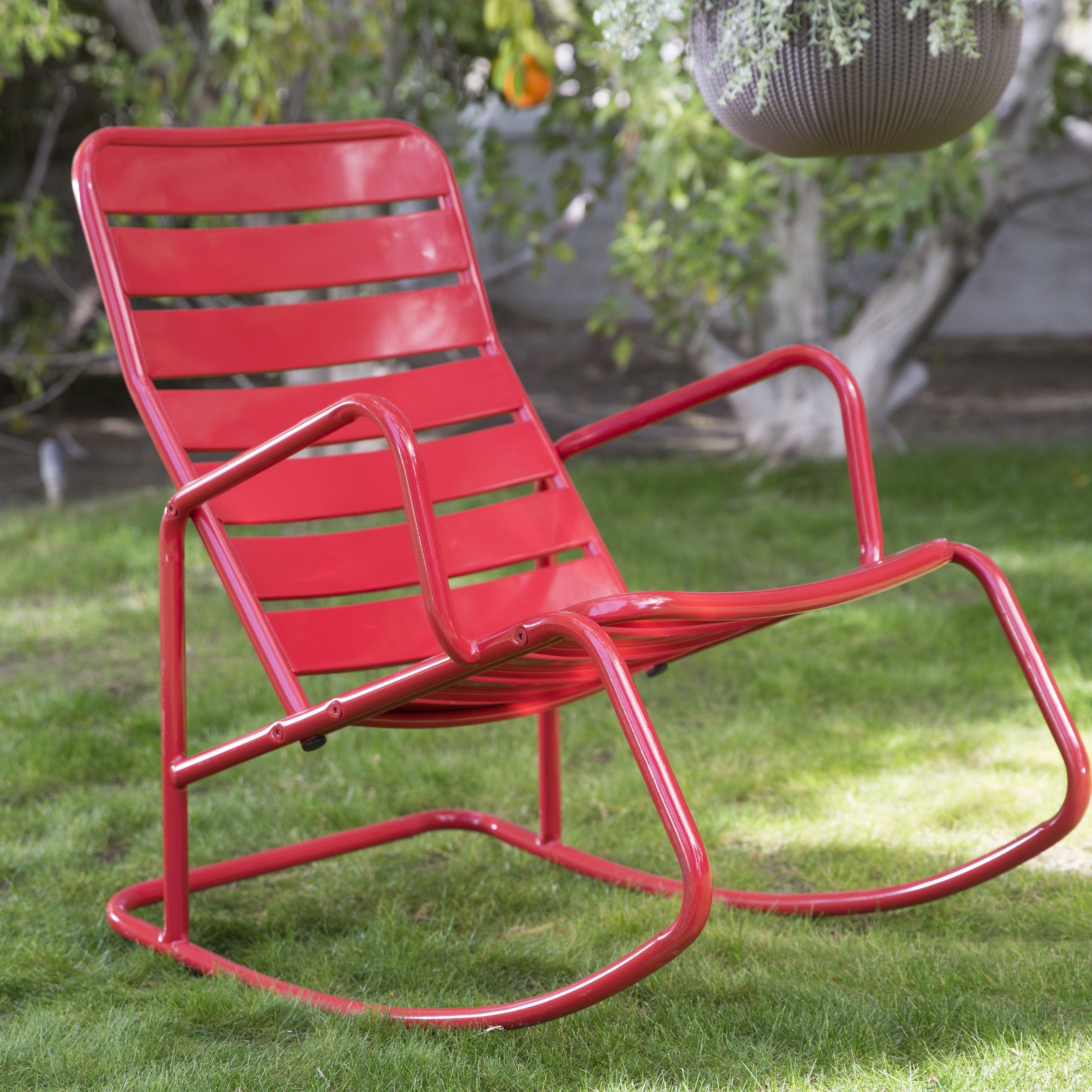 Belham Living Adley Outdoor Metal Slat Rocking Chair – Contemporary In Retro Outdoor Rocking Chairs (#1 of 15)