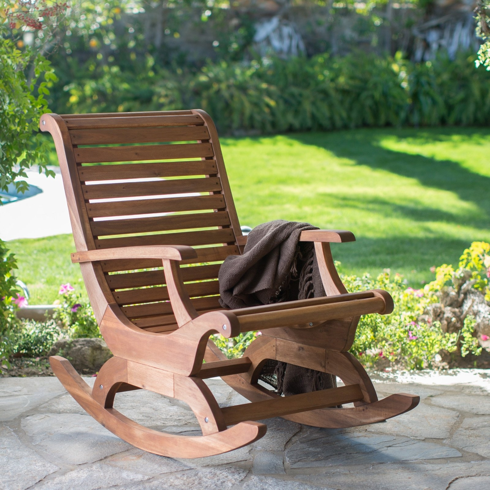 Belham Living Avondale Oversized Outdoor Rocking Chair – Natural Throughout Outdoor Rocking Chairs (View 2 of 15)