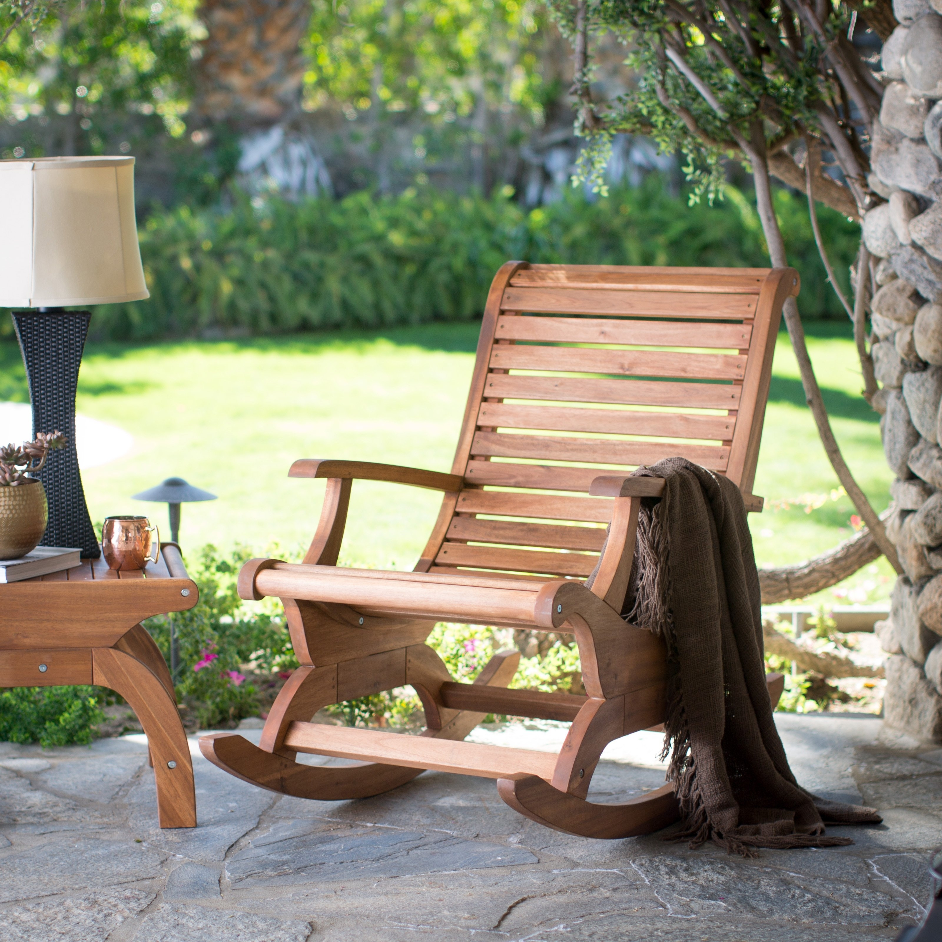 Belham Living Avondale Oversized Outdoor Rocking Chair – Natural With Wooden Patio Rocking Chairs (#2 of 15)
