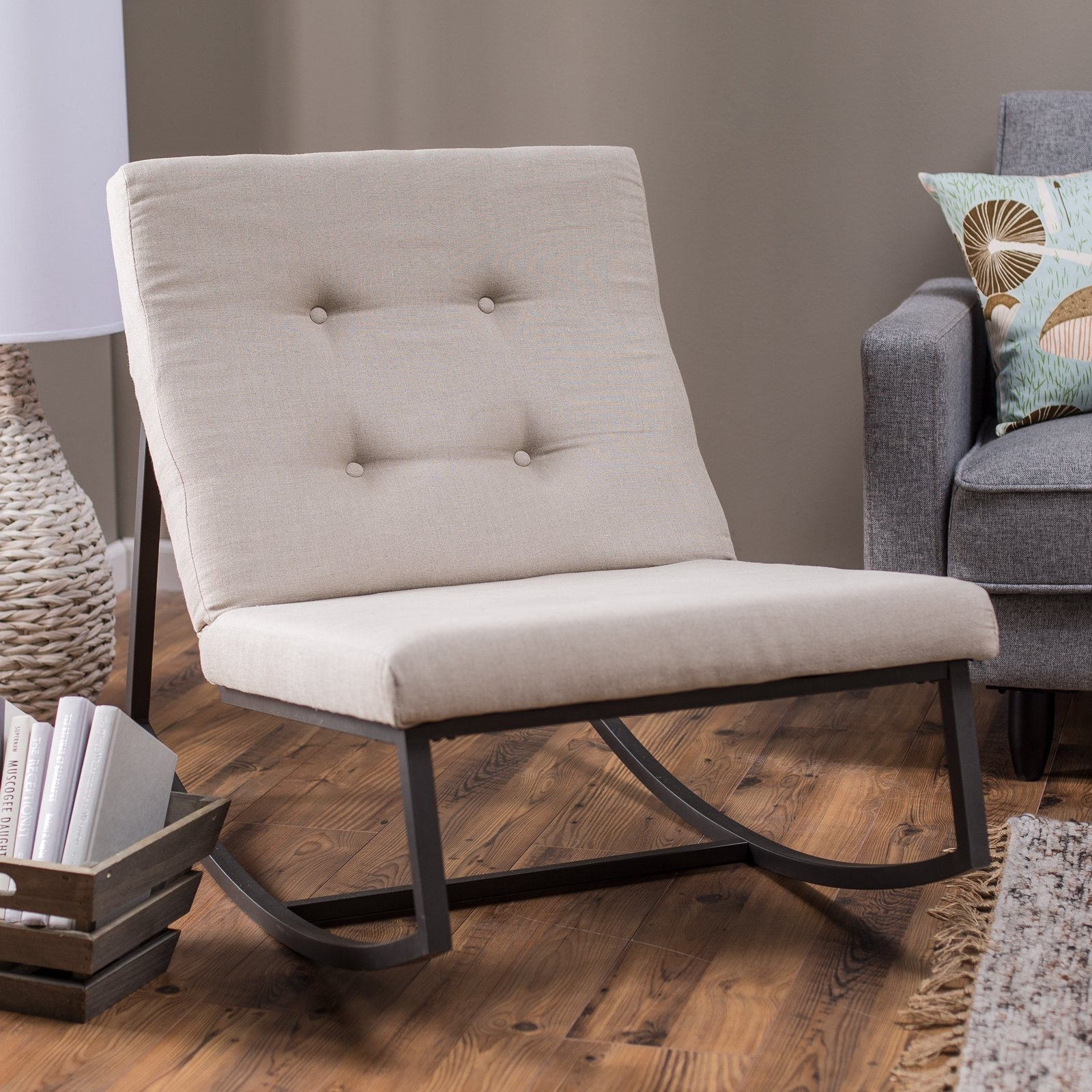 Belham Living Grayson Tufted Rocking Chair | Hayneedle Regarding Rocking Chairs For Living Room (#1 of 15)