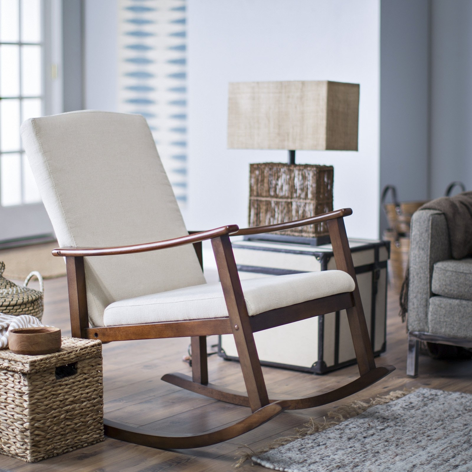 Belham Living Windsor Indoor Wood Rocking Chair – White | Hayneedle Throughout Rocking Chairs For Living Room (#2 of 15)