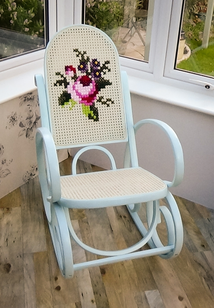 Bentwood Rocking Chair Upcycled With Embroidery | Vinterior Inside Upcycled Rocking Chairs (#3 of 15)