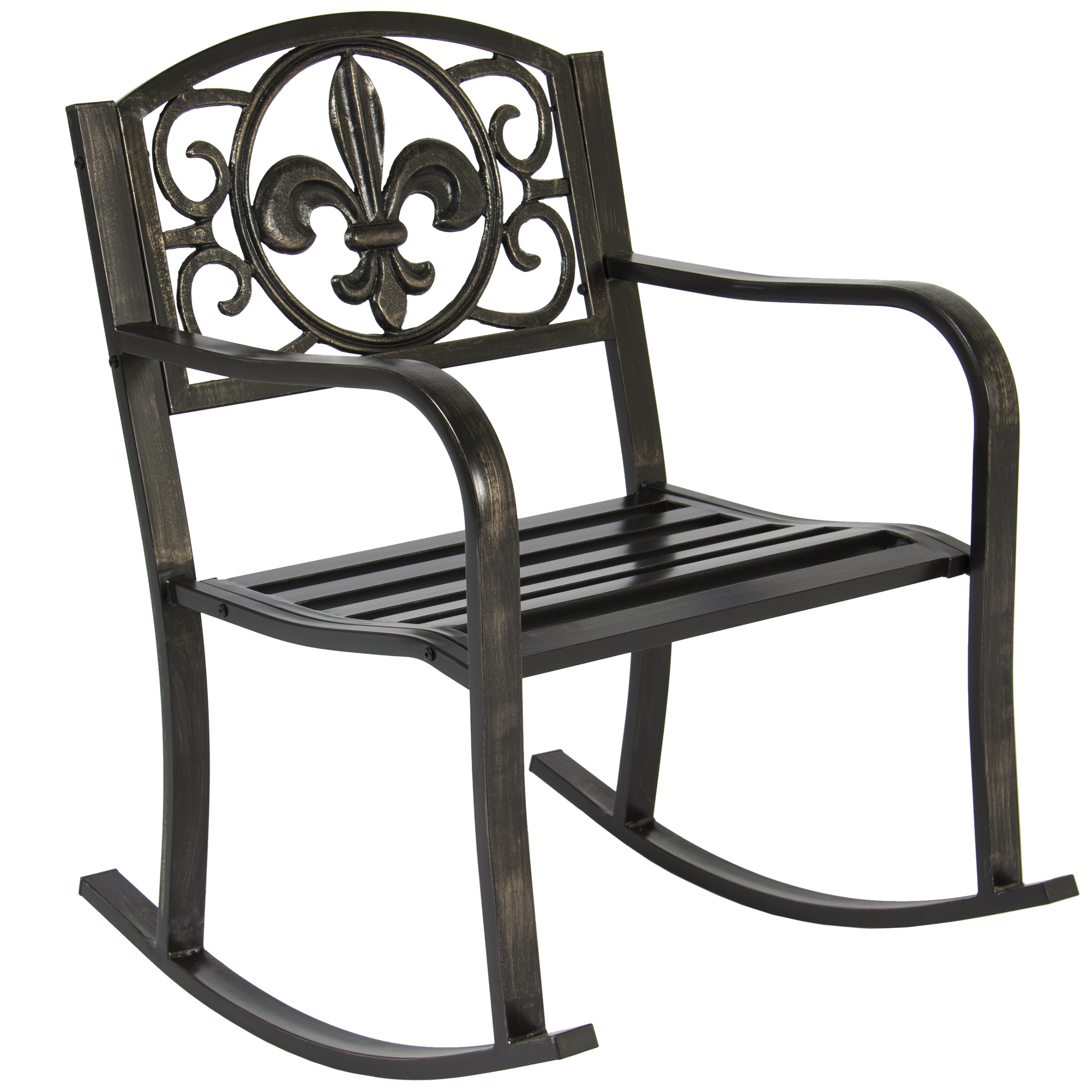 Best Choice Products Metal Rocking Chair Seat For Patio, Porch, Deck Throughout Inexpensive Patio Rocking Chairs (#1 of 15)