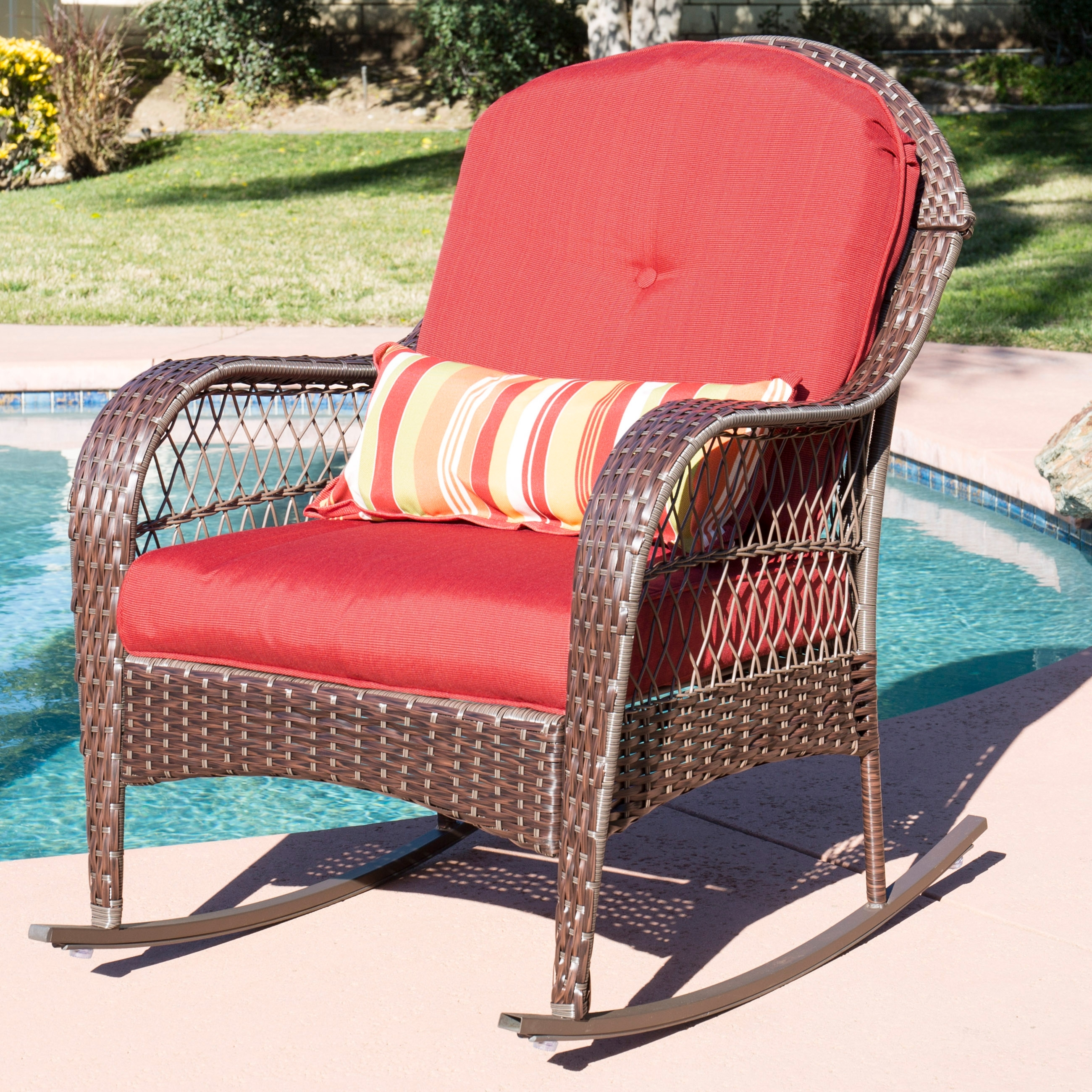 Best Choice Products Wicker Rocking Chair Patio Porch Deck Furniture For Outdoor Wicker Rocking Chairs With Cushions (#2 of 15)