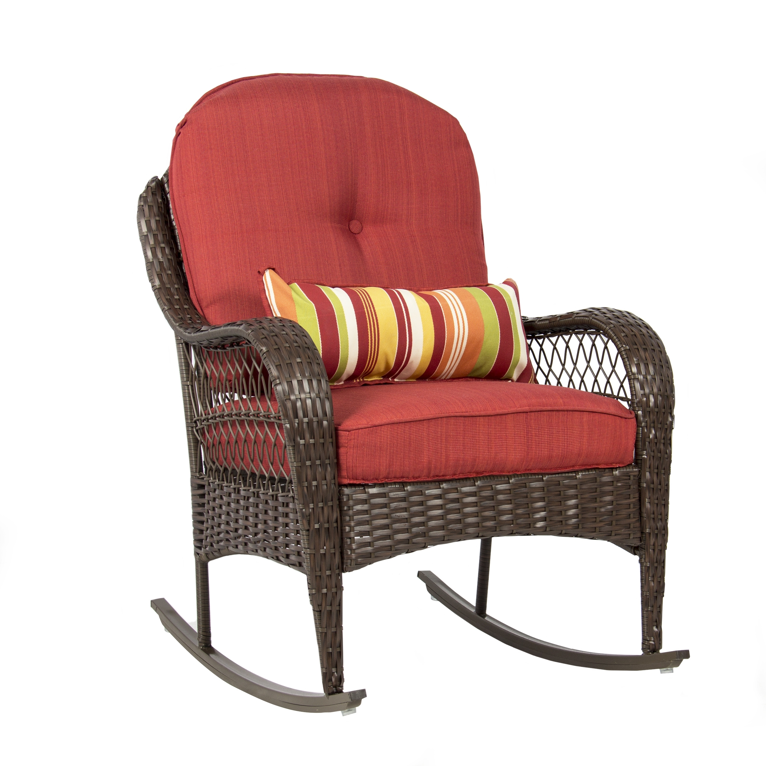 Best Choice Products Wicker Rocking Chair Patio Porch Deck Furniture Inside Rocking Chairs At Walmart (#4 of 15)