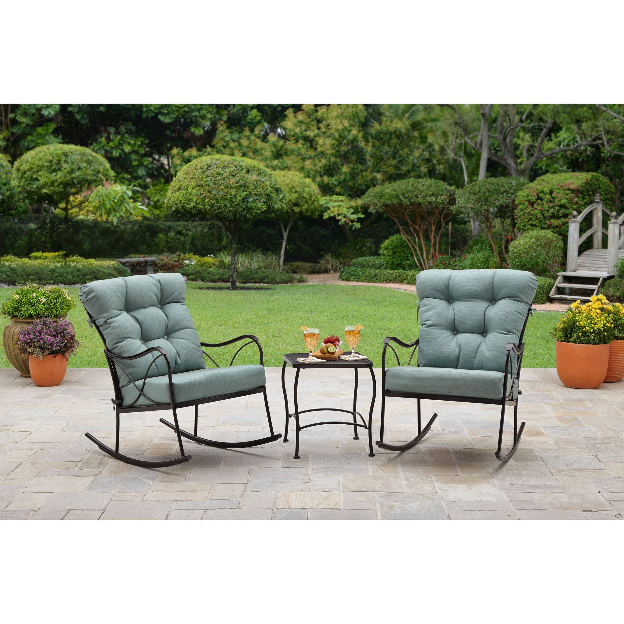 Better Homes And Gardens Seacliff 3 Piece Rocking Chair Bistro Set Regarding Patio Rocking Chairs And Table (View 2 of 15)
