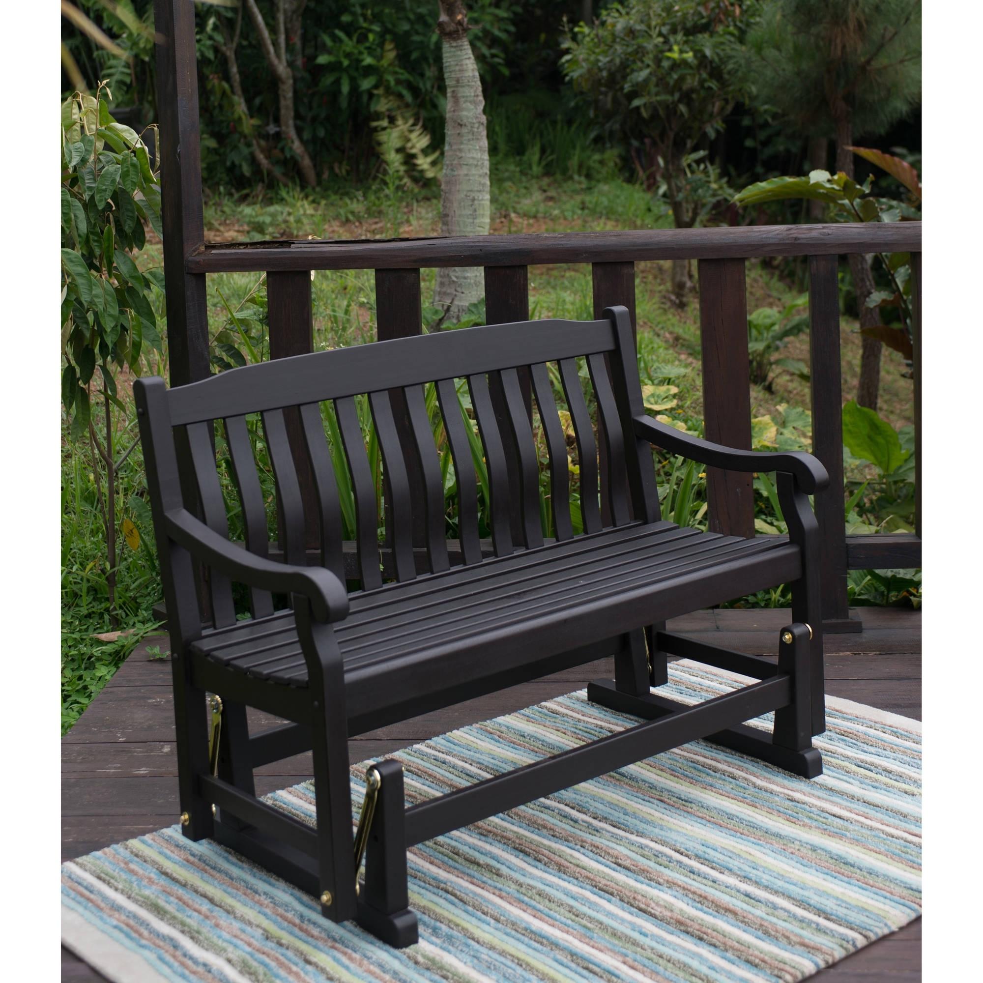 Better Homes & Gardens Delahey Outdoor Glider Bench, Dark Brown Inside Patio Furniture Rocking Benches (View 1 of 15)