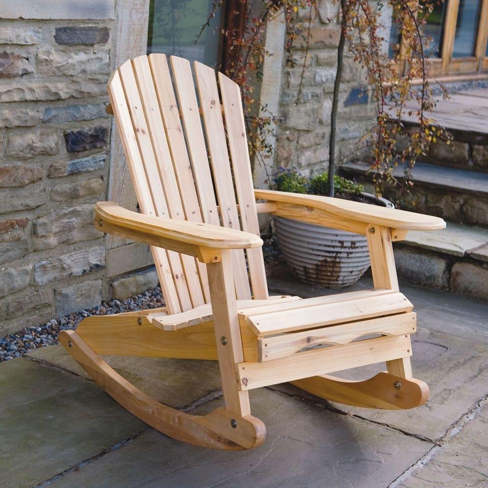 Bowland Outdoor Garden Patio Wooden Adirondack Rocker Rocking Chair Regarding Patio Furniture Rocking Benches (#2 of 15)