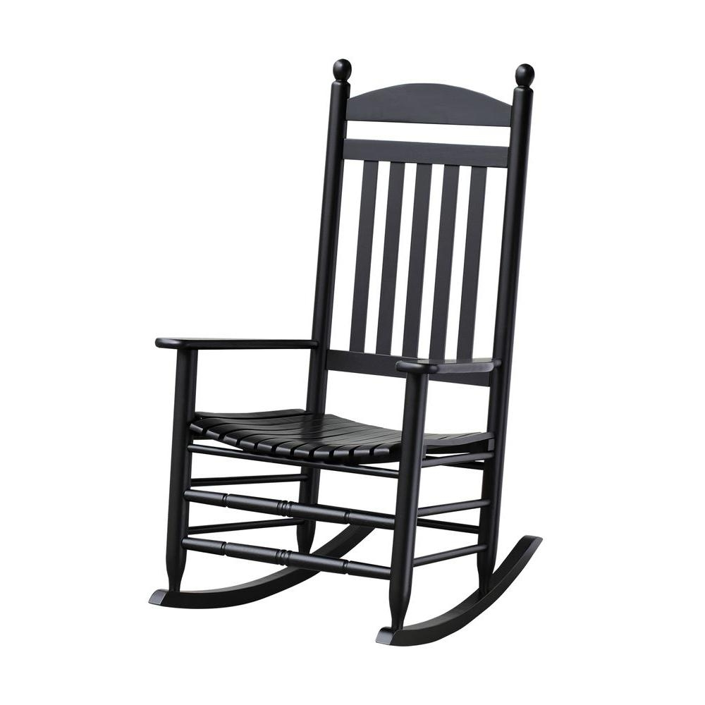 Bradley Black Slat Patio Rocking Chair 200Sbf Rta – The Home Depot With Patio Furniture Rocking Benches (#3 of 15)