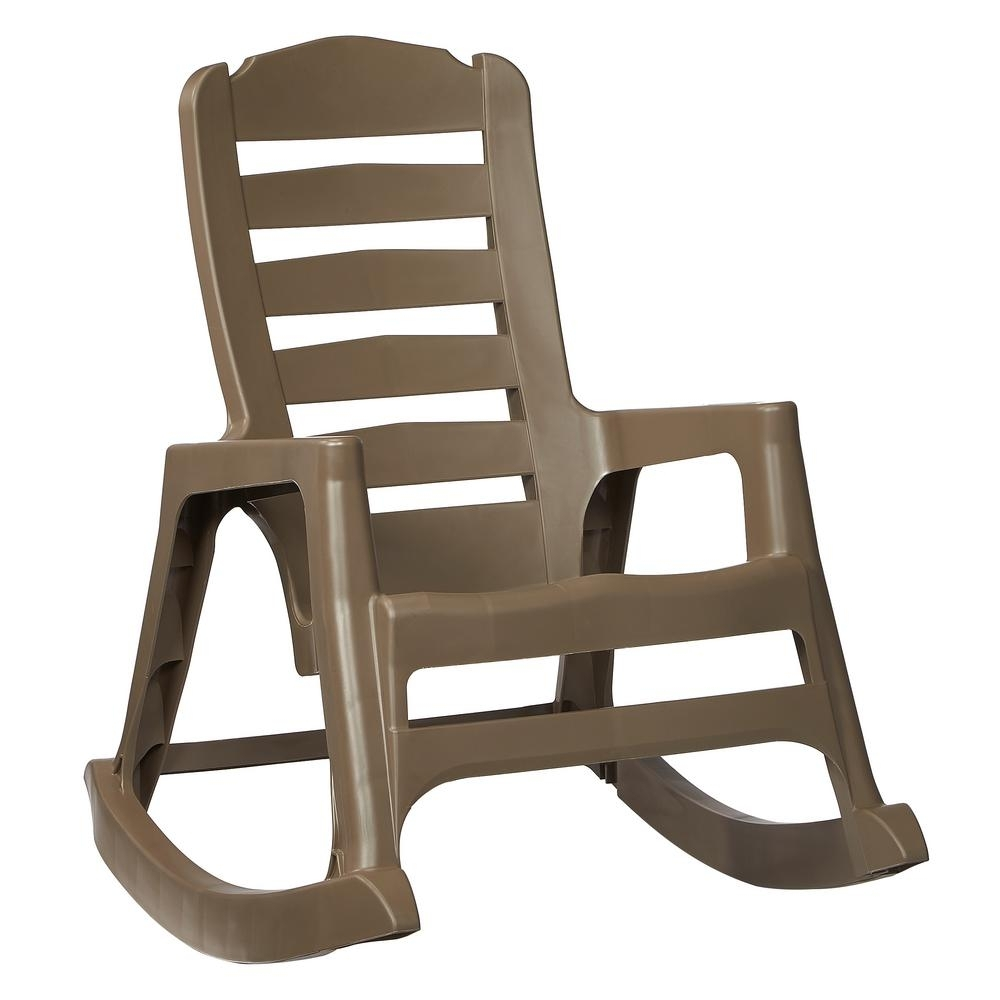 Bradley Maple Jumbo Slat Wood Outdoor Patio Rocking Chair 1200Sm Rta Throughout Rocking Chairs At Home Depot (#2 of 15)