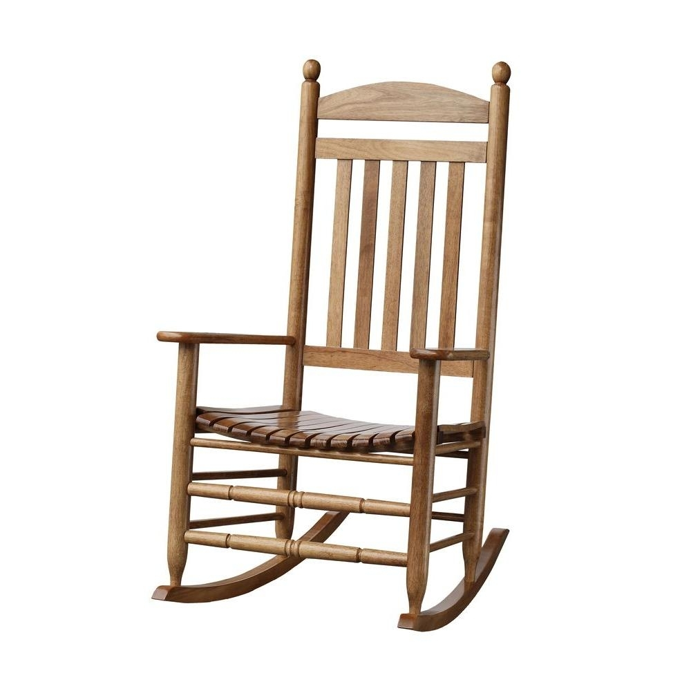 Bradley Maple Slat Patio Rocking Chair 200Sm Rta – The Home Depot Pertaining To Rocking Chairs At Home Depot (View 3 of 15)