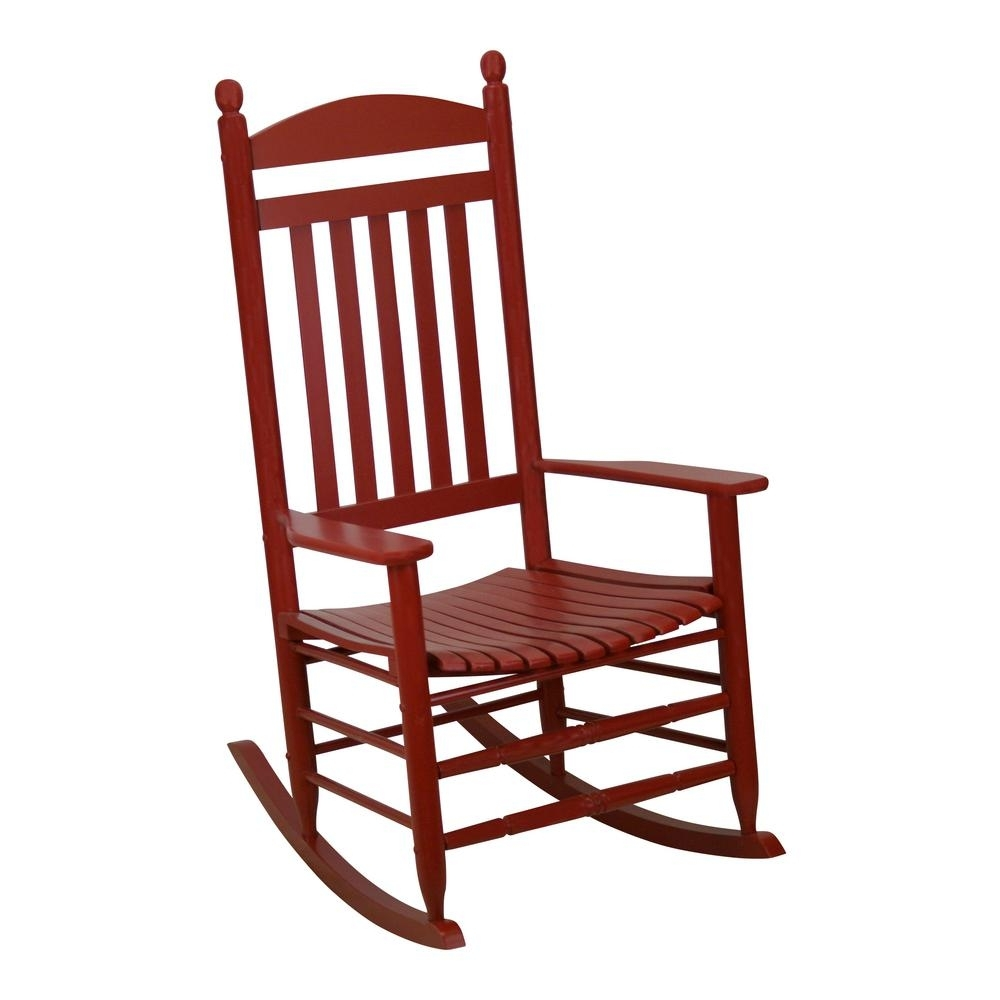 Bradley Slat Chili Patio Rocking Chair 200S Chil Rta – The Home Depot With Red Patio Rocking Chairs (View 3 of 15)