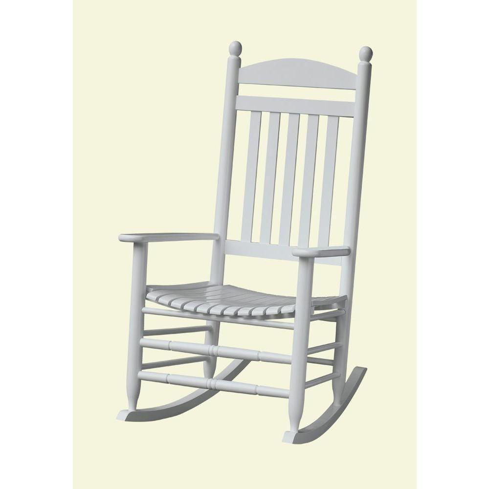 Bradley White Slat Patio Rocking Chair 200Sw Rta – The Home Depot For Rocking Chairs At Home Depot (View 4 of 15)